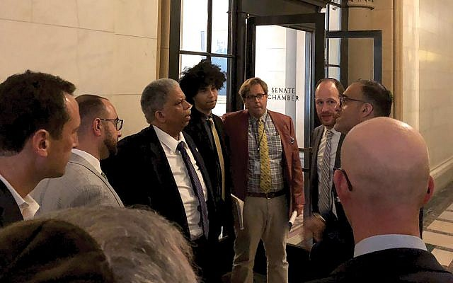 Met Council's David Greenfield, second from right, with a group of young professional during a lobbying trip to the statehouse in Albany. Courtesy of Met Council