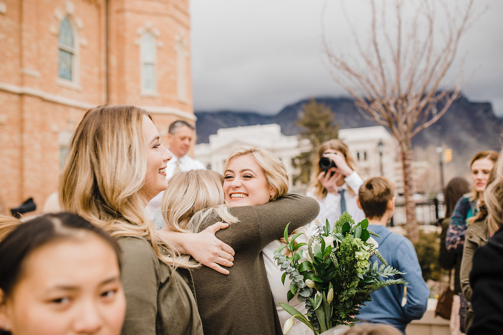 provo lds temple couple greeting guests after sealing