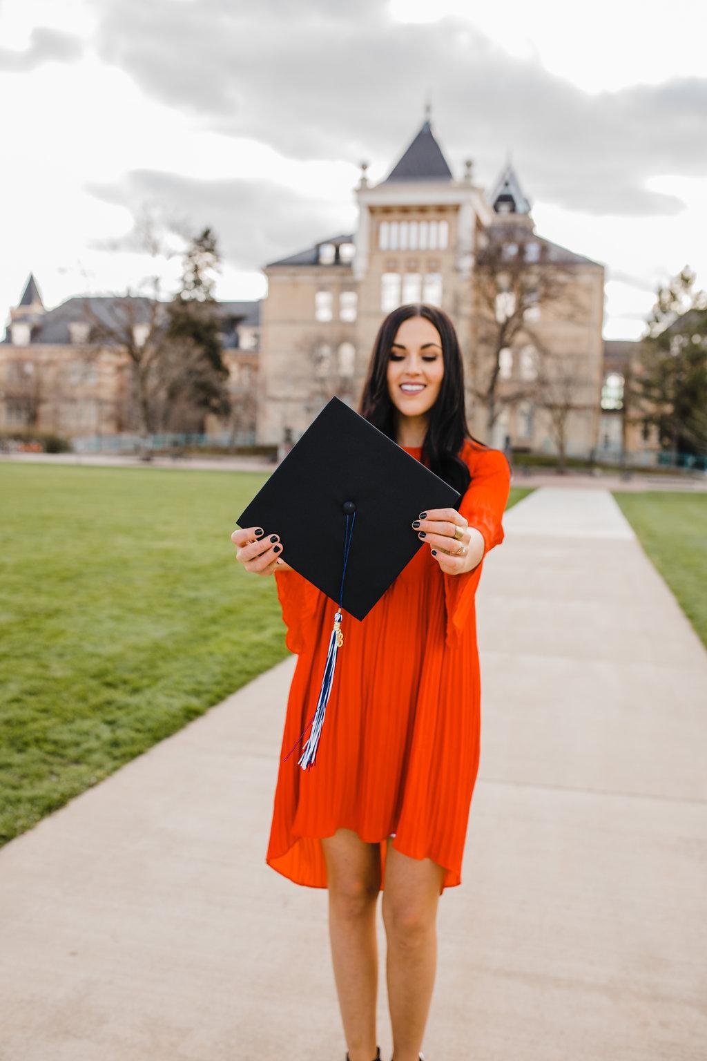 cap and gown senior graduation photo session usu grad logan utah