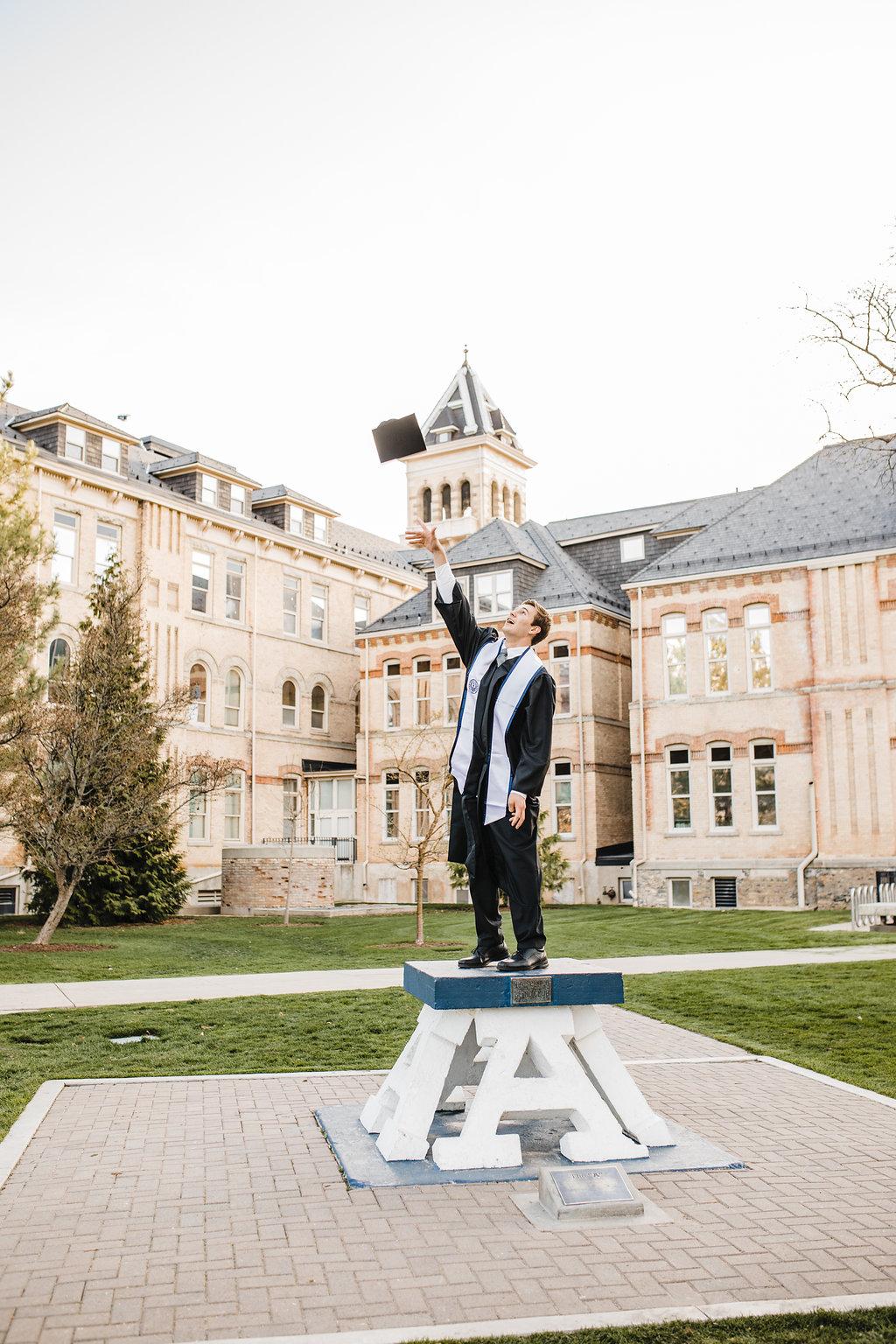 graduation photos logan utah state university college cache valley