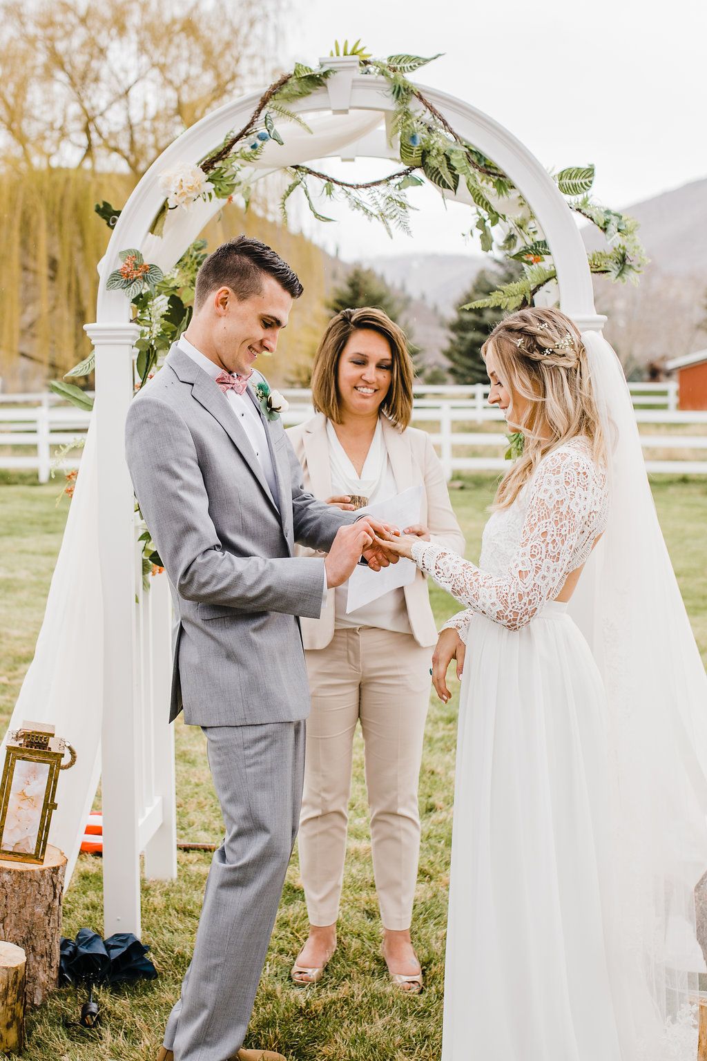 park city outdoor wedding ceremony photography wedding arch ring exchange lace wedding dress