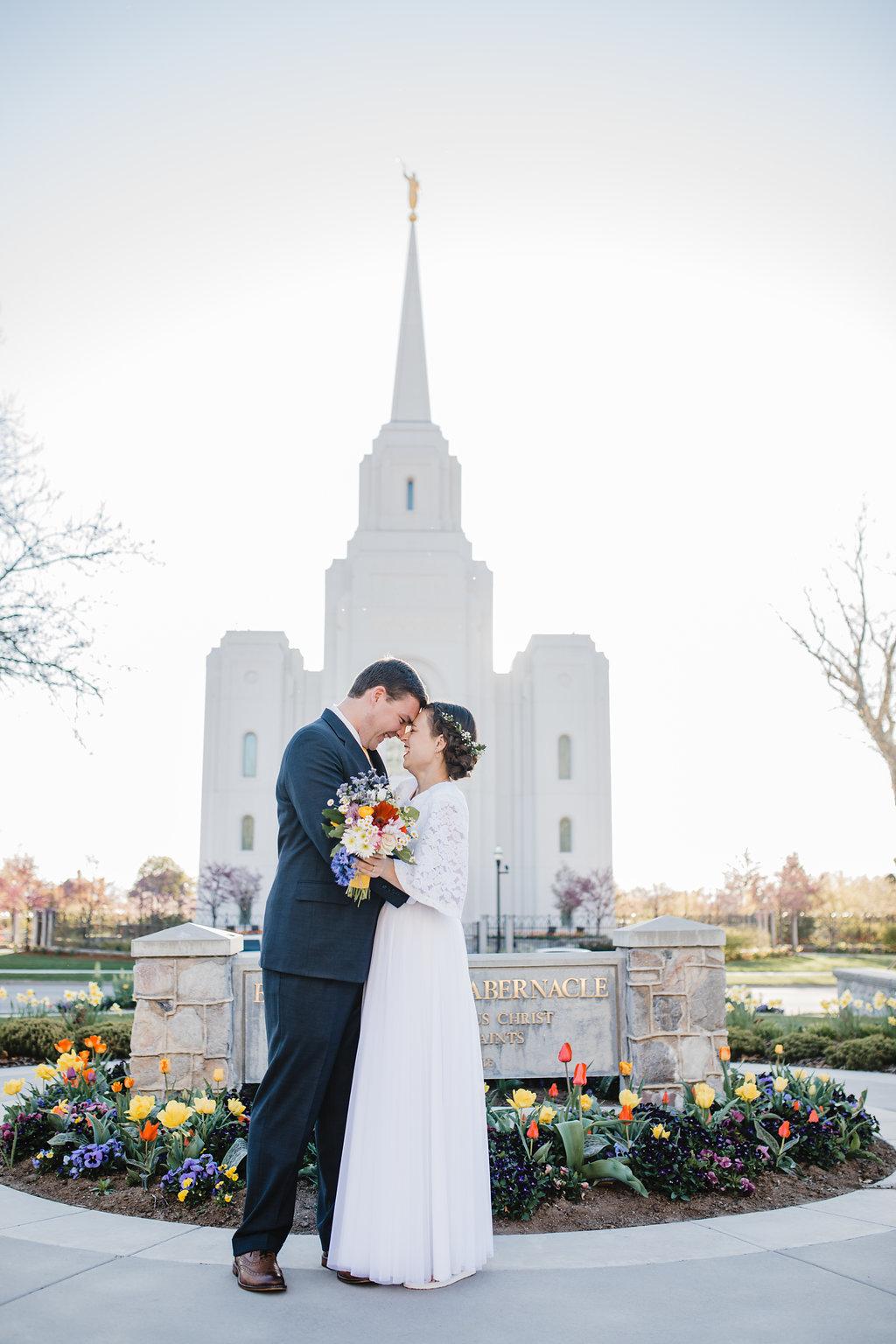 brigham city lds temple wedding northern utah formals photographer box elder mormon modest wedding dress lace sleeves blue suit