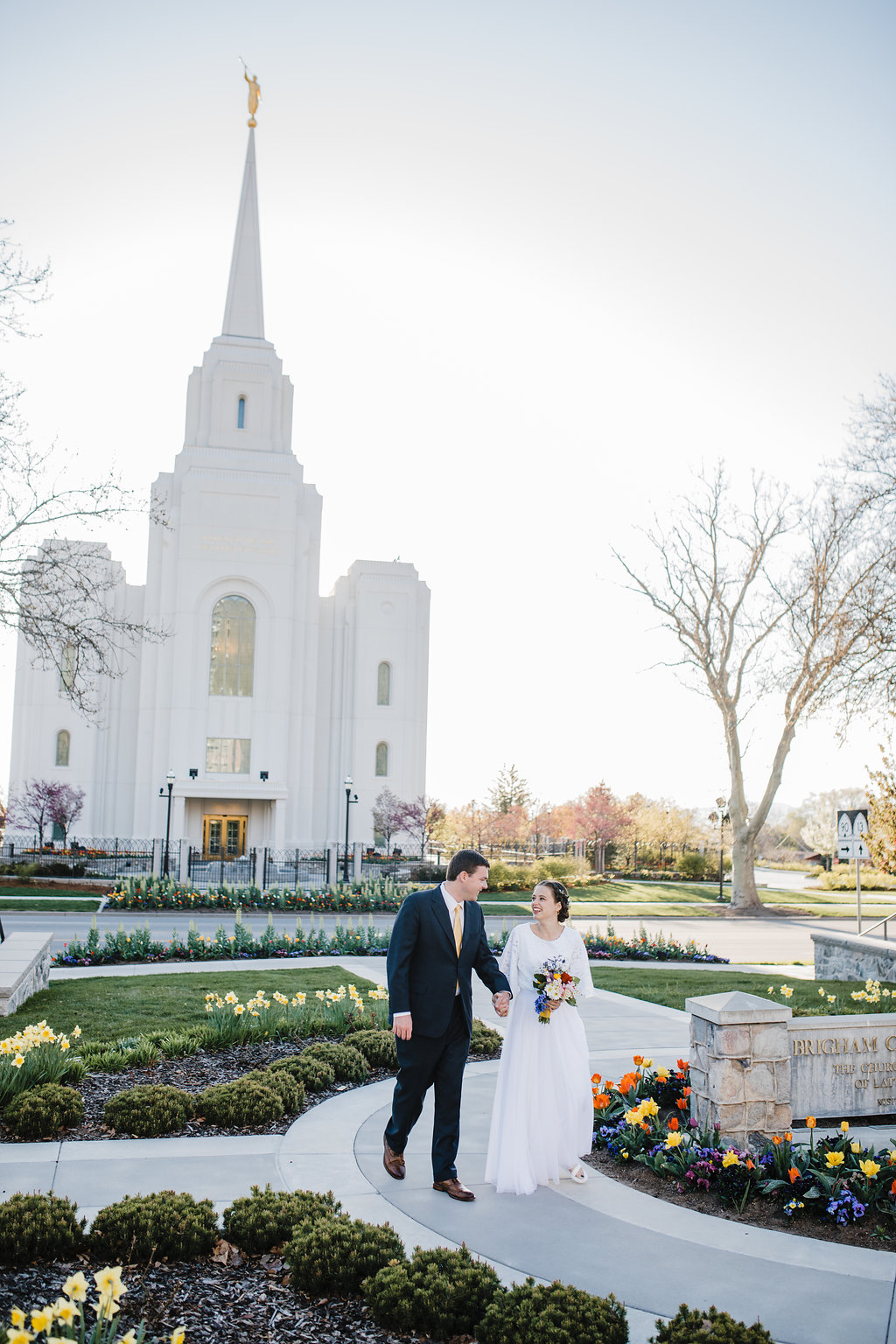 mormon wedding lds brigham city temple northern utah wedding photographer young couple lds romantic temple grounds formals photography