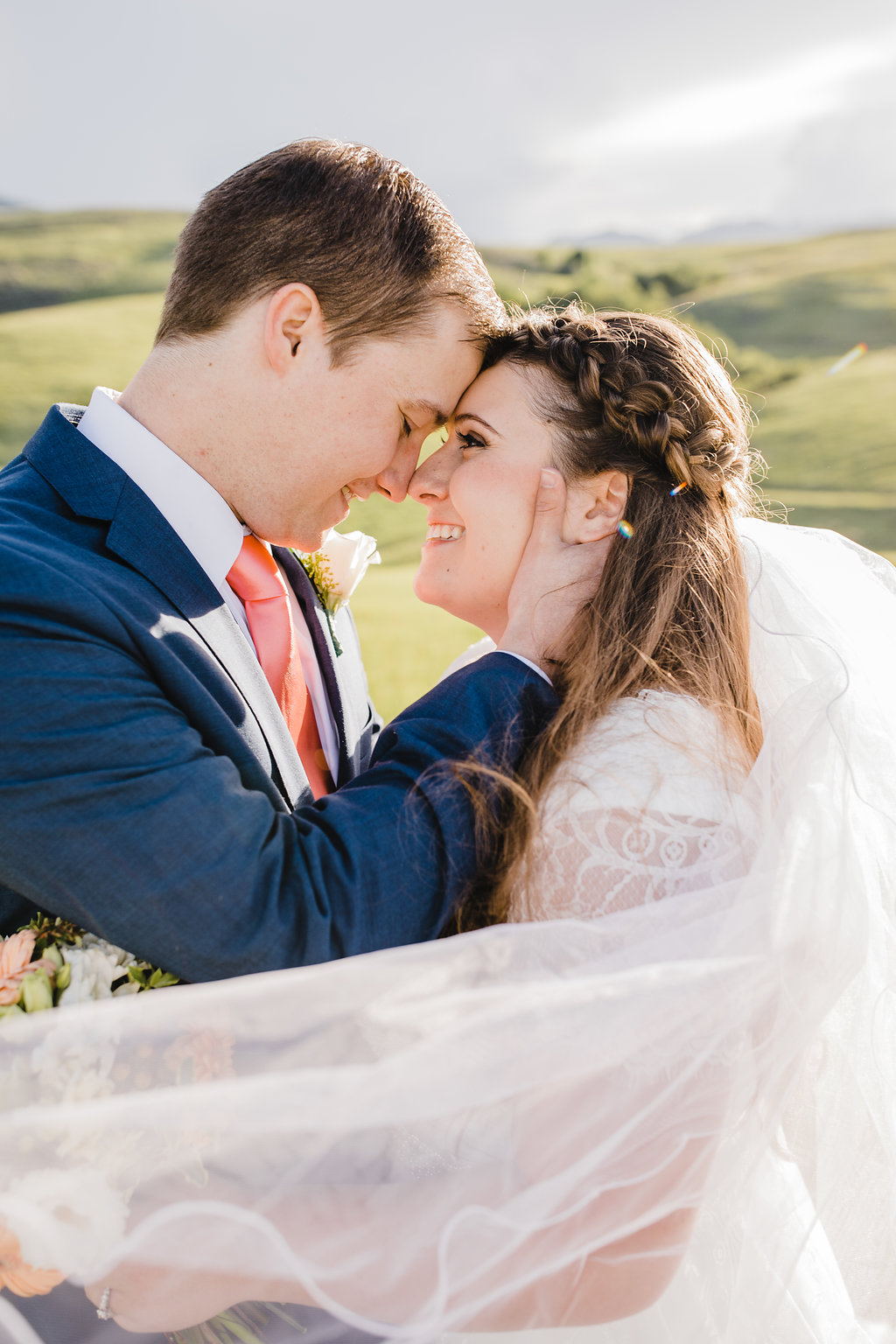 outdoor wedding photographer northern utah cache valley wedding photography bridal veil adventurous couple in love