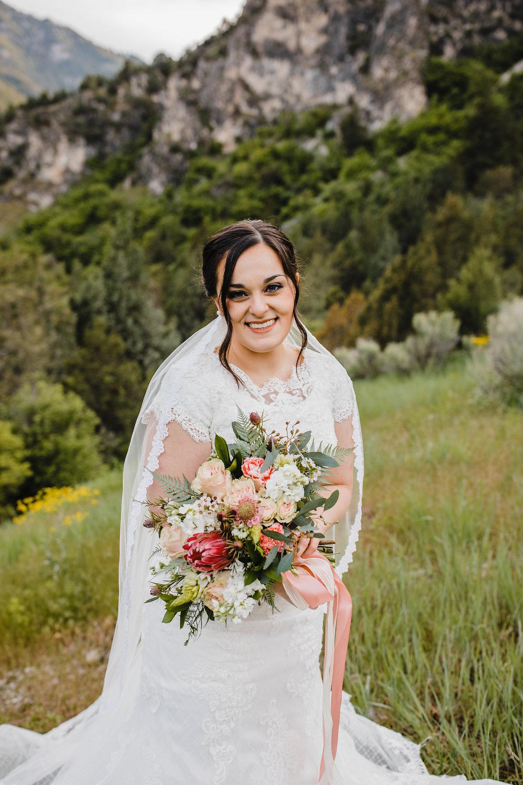 bride formals boho bouquet