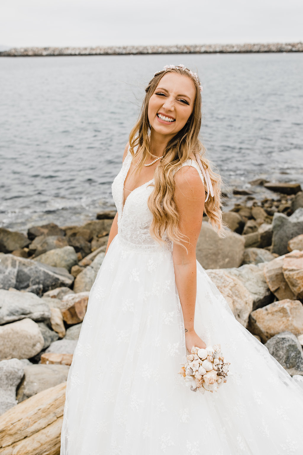 california rocky beach bride wedding day formals