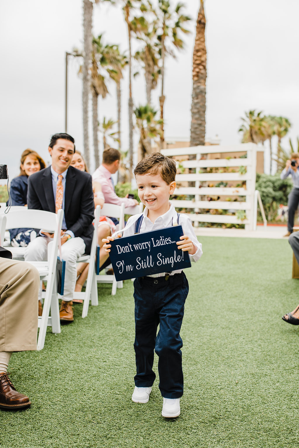 ring bearer sign california wedding day palm trees