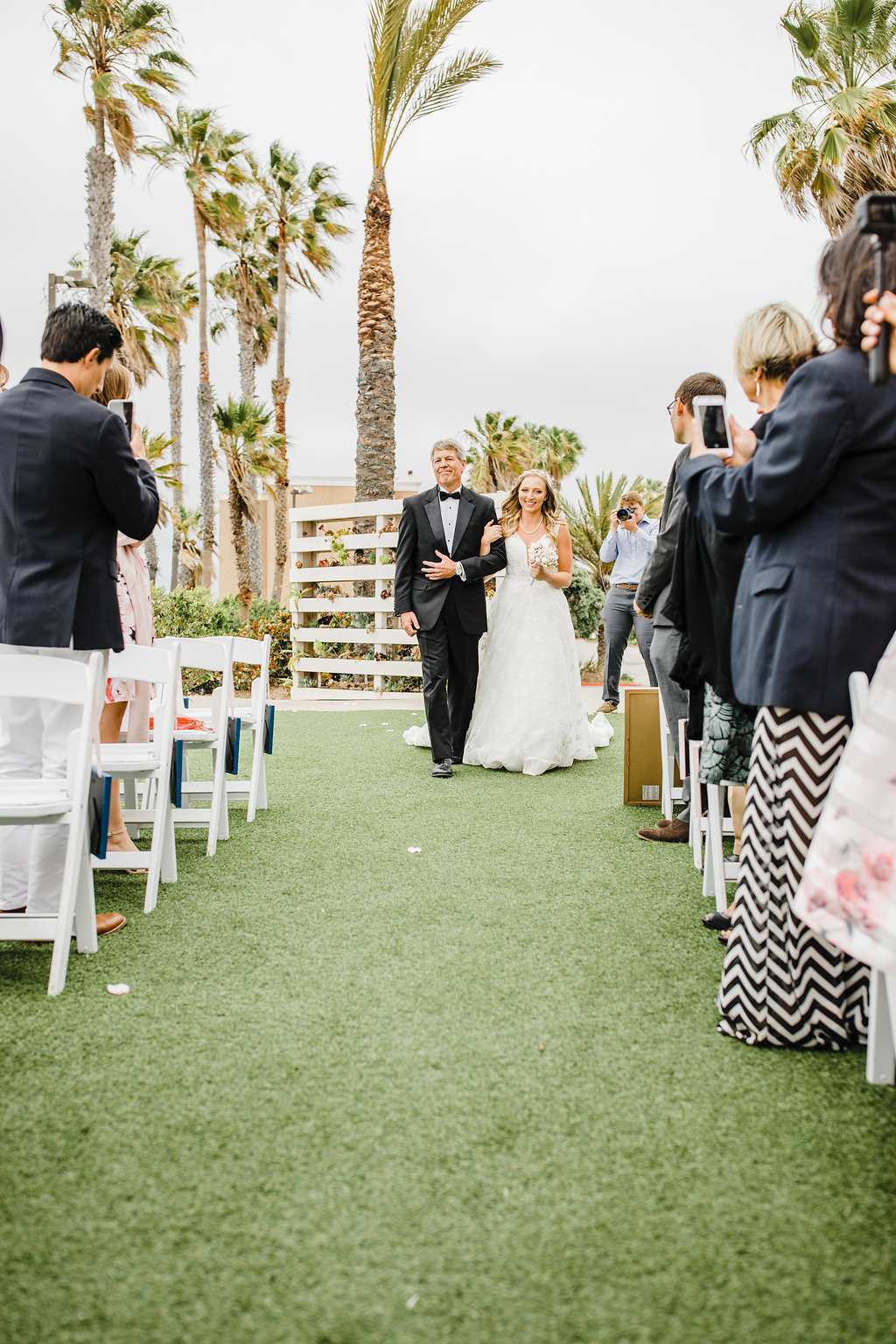 father of the bride walking bride down the aisle los angeles california wedding day photography