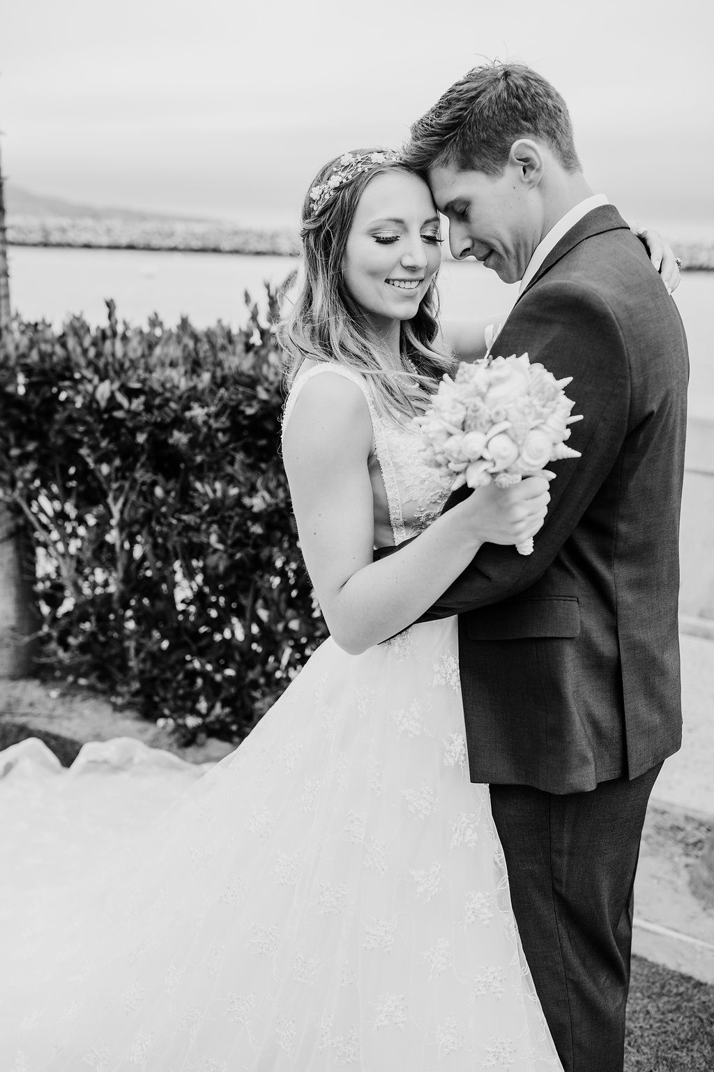 black and white wedding day photography bride and groom los angeles california