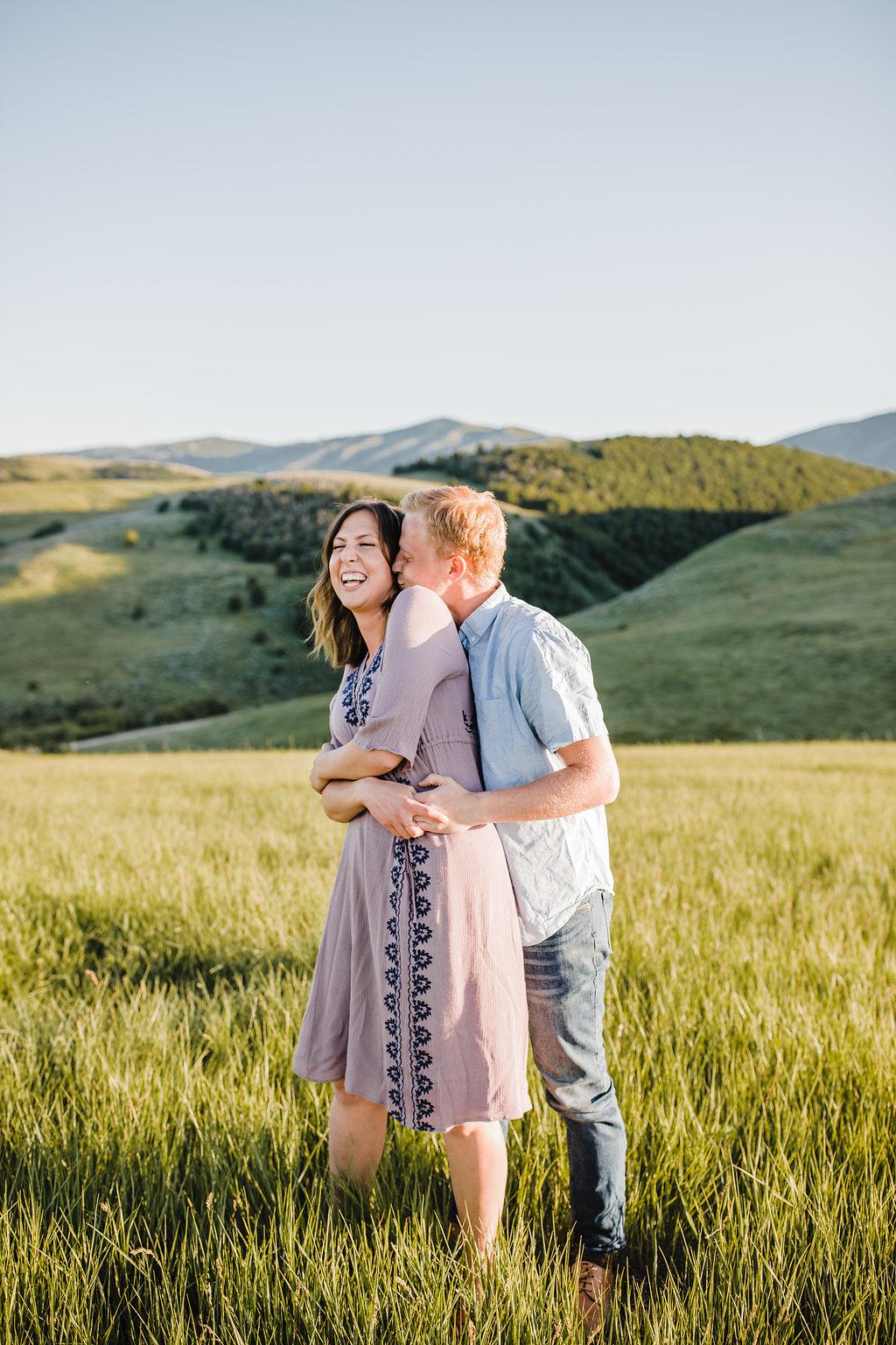 engagement photo couple laughing professional northern utah wedding photographer calli richards
