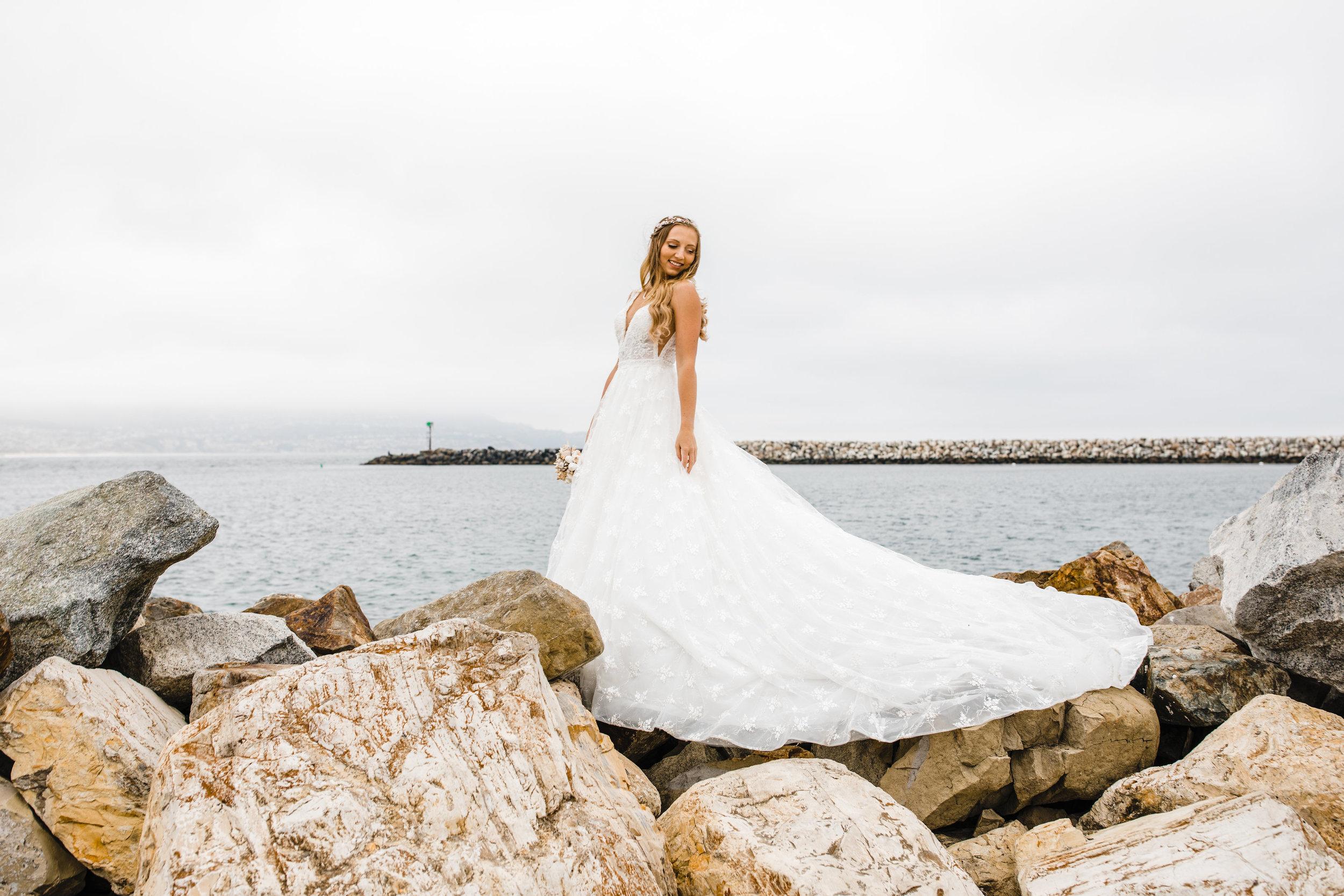 professional wedding photographer in westminister colorado long wedding train beach wedding dress beachfront bridals seascape