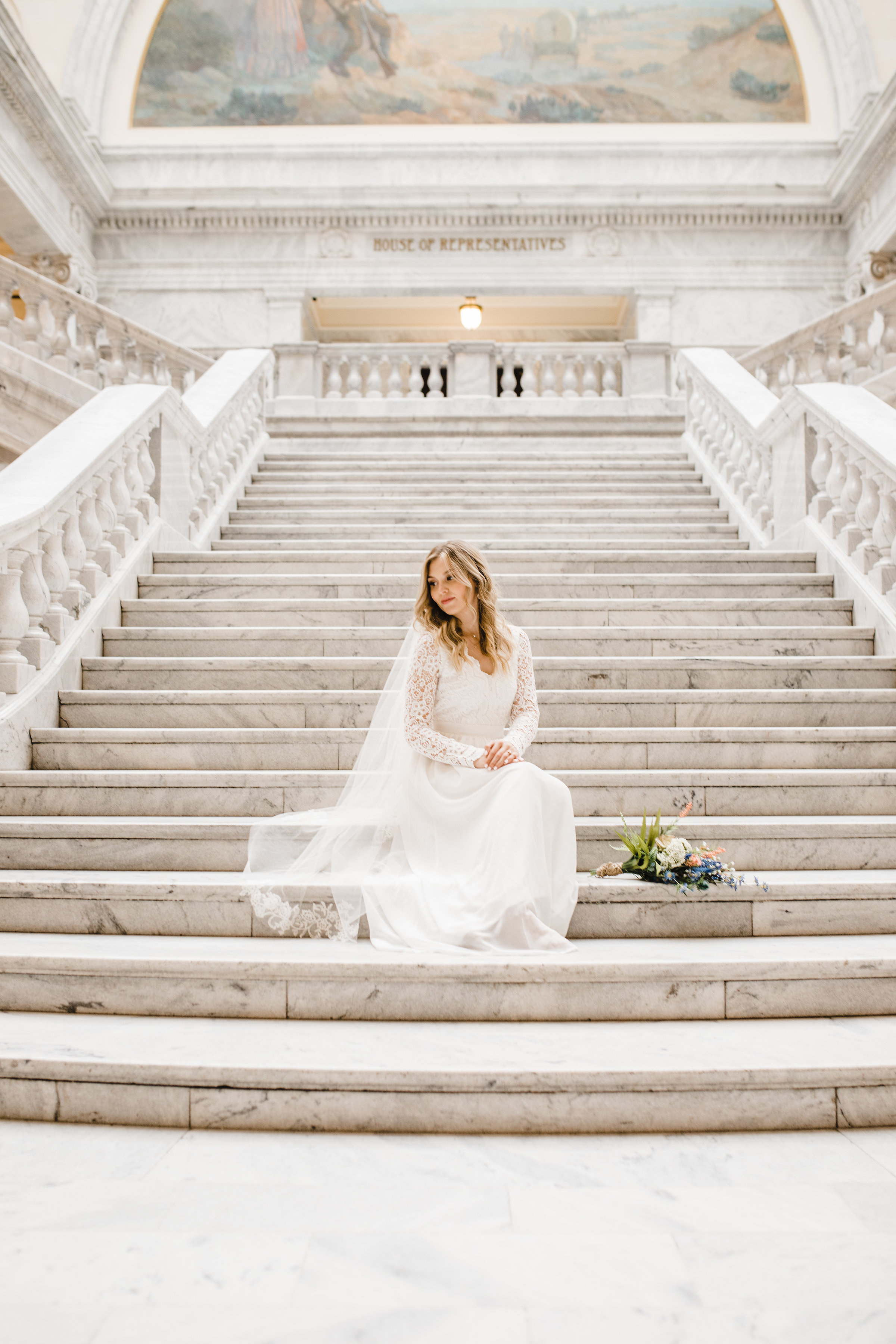 professional wedding photographer in westminister colorado staircase lace wedding dress