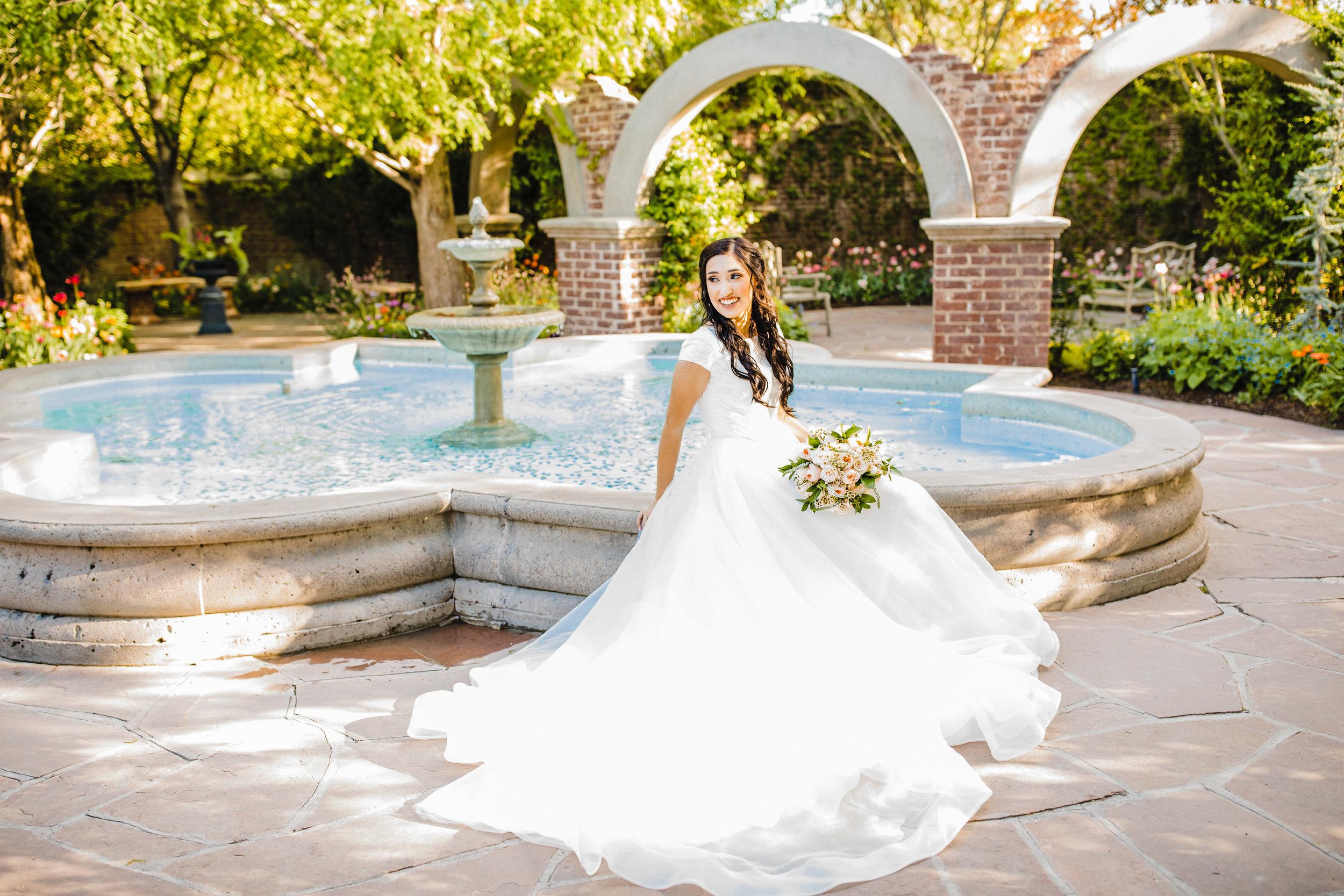 bride at fountain arvada colorado wedding photographer professional wedding photos bridals formals arvada co