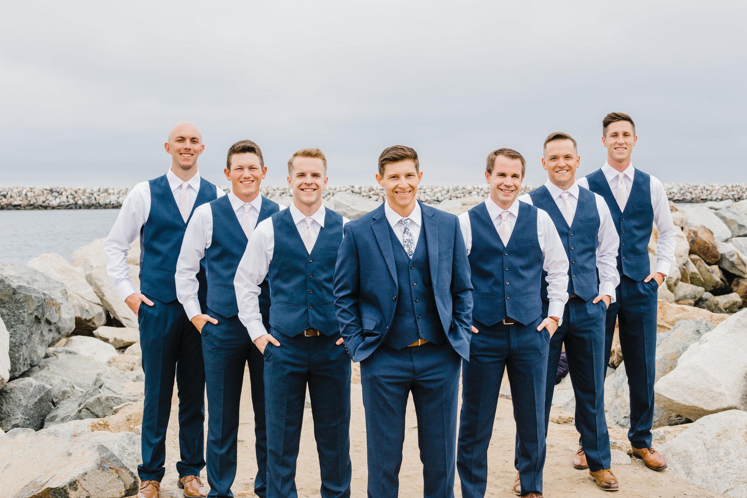 lakewood colorado professional wedding photographer beach wedding groomsmen wedding party navy suits