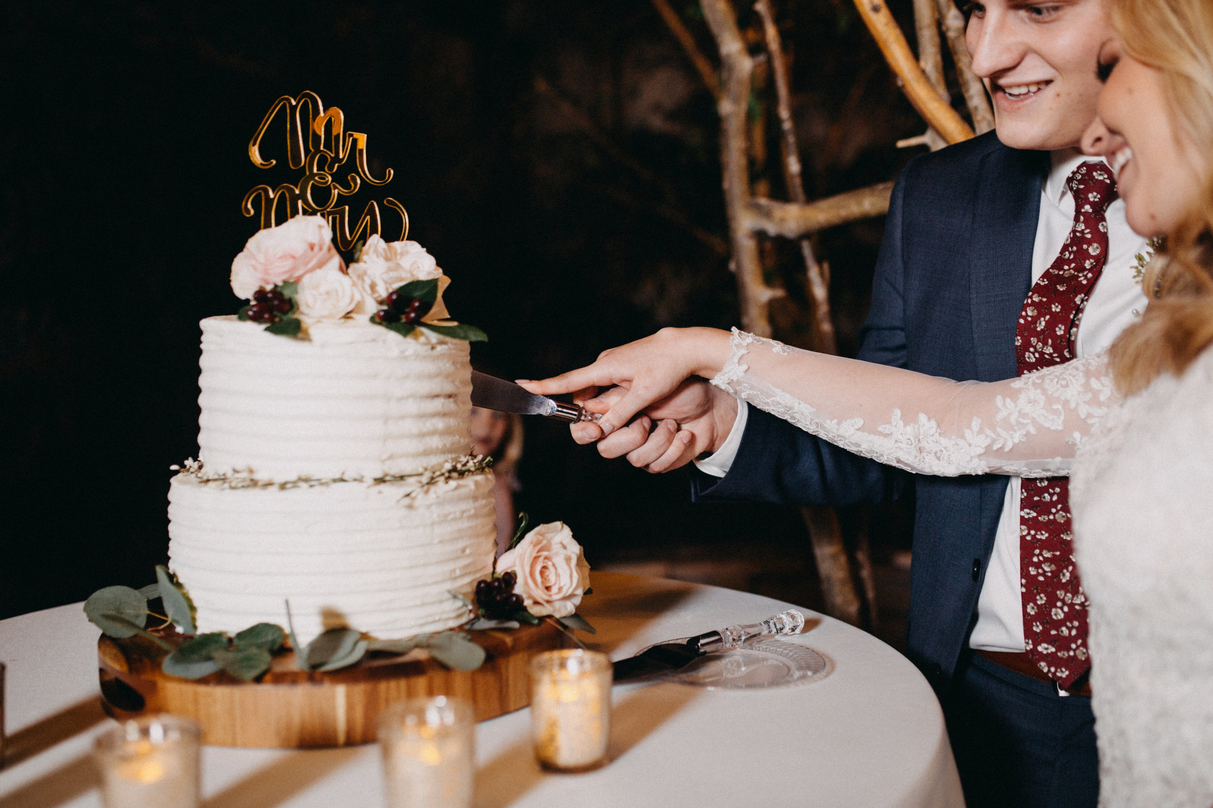 Professional Wedding Photographer in Brigham City Utah Wedding Reception Cutting Wedding Cake Vintage Wedding