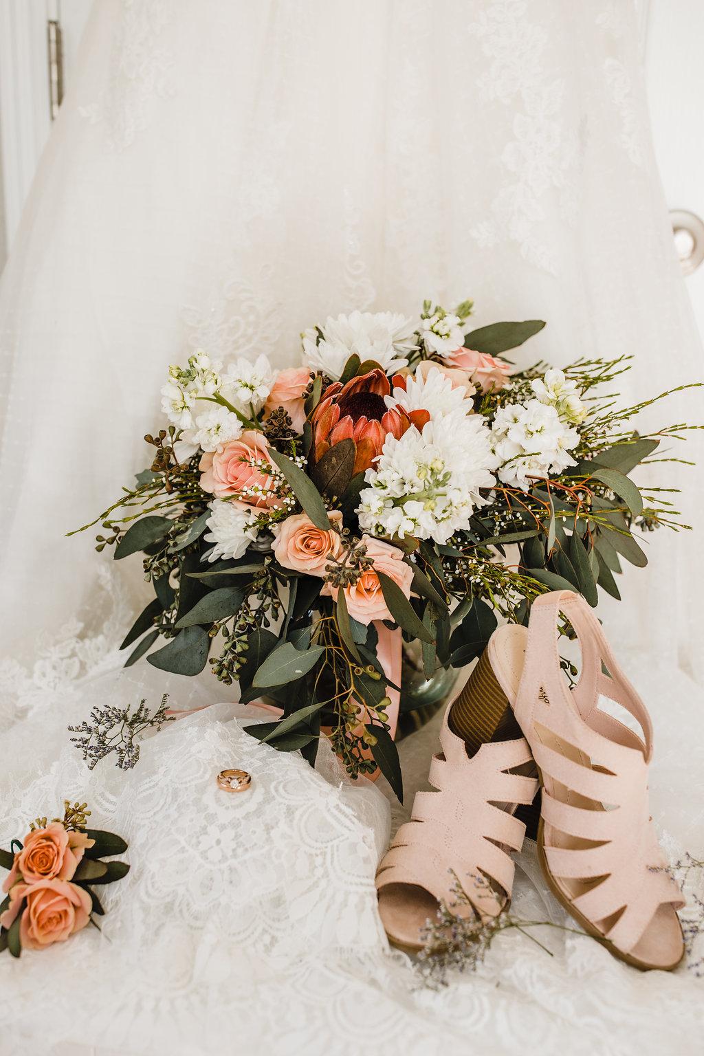 wedding day details bride sandals bouquet and ring professional utah wedding photographer calli richards