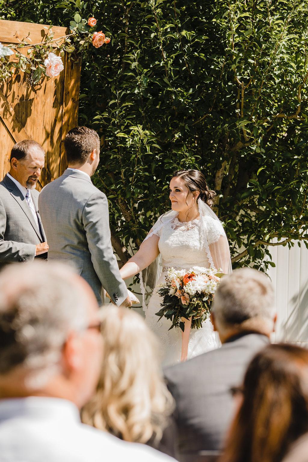 wedding ceremony bride and groom monroe utah bride expressions