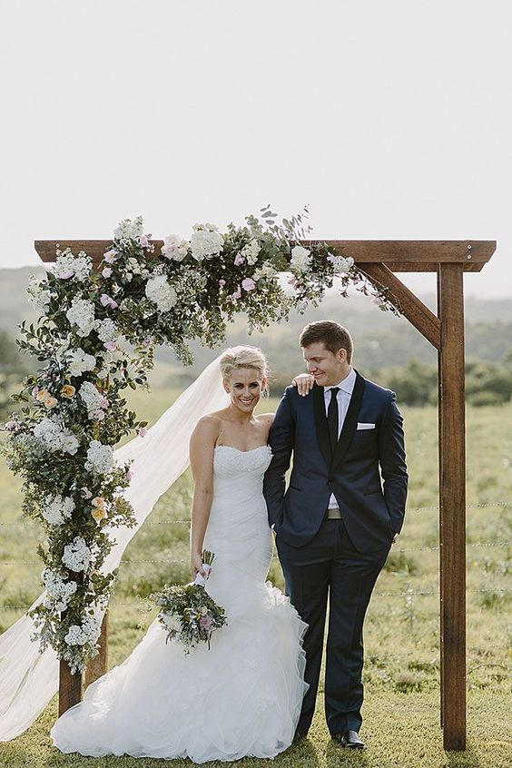bohemian wedding arch outdoor wedding hydrangea flowers asymmetry
