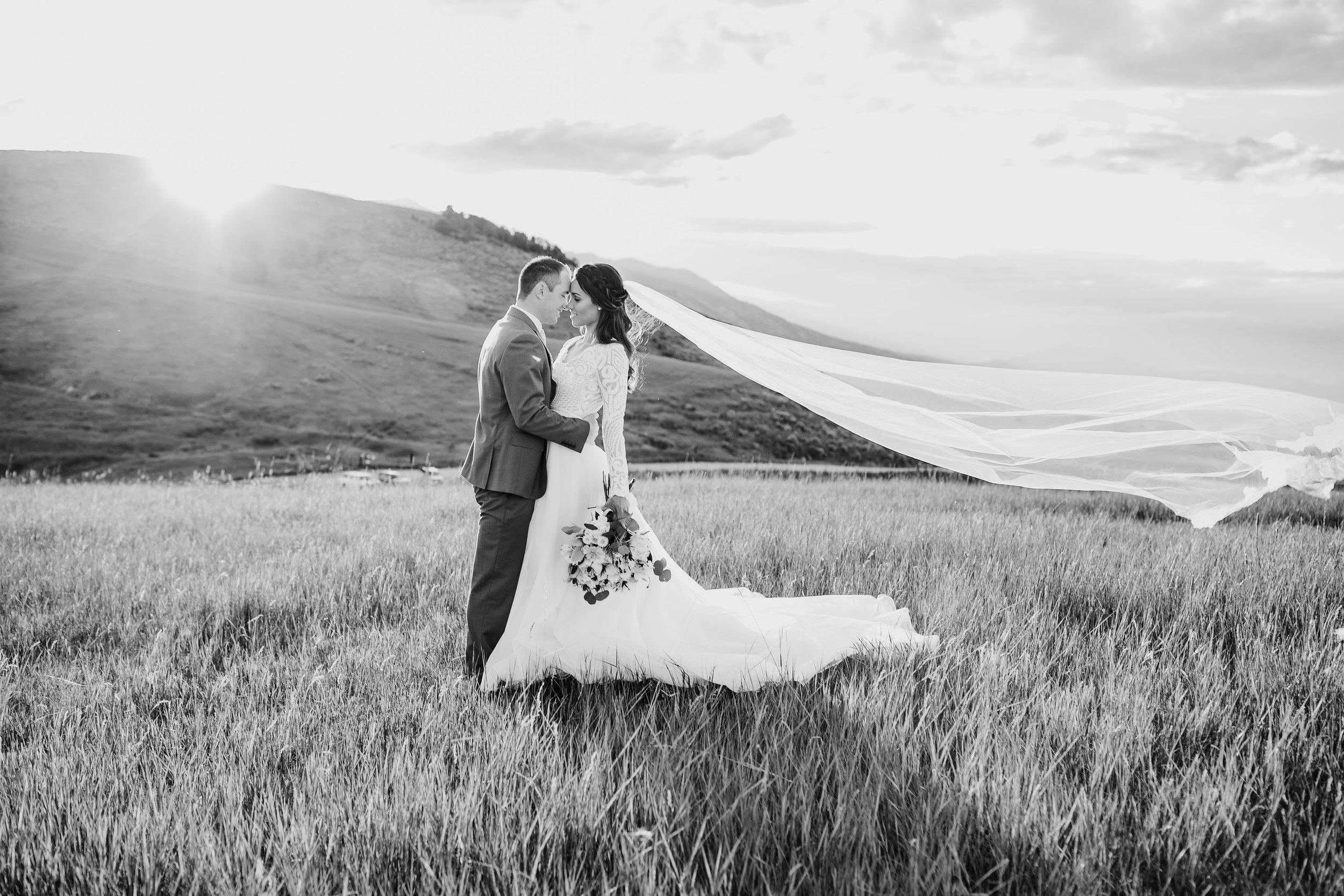 professional photographer in logan utah mountain bridals long veil windblown