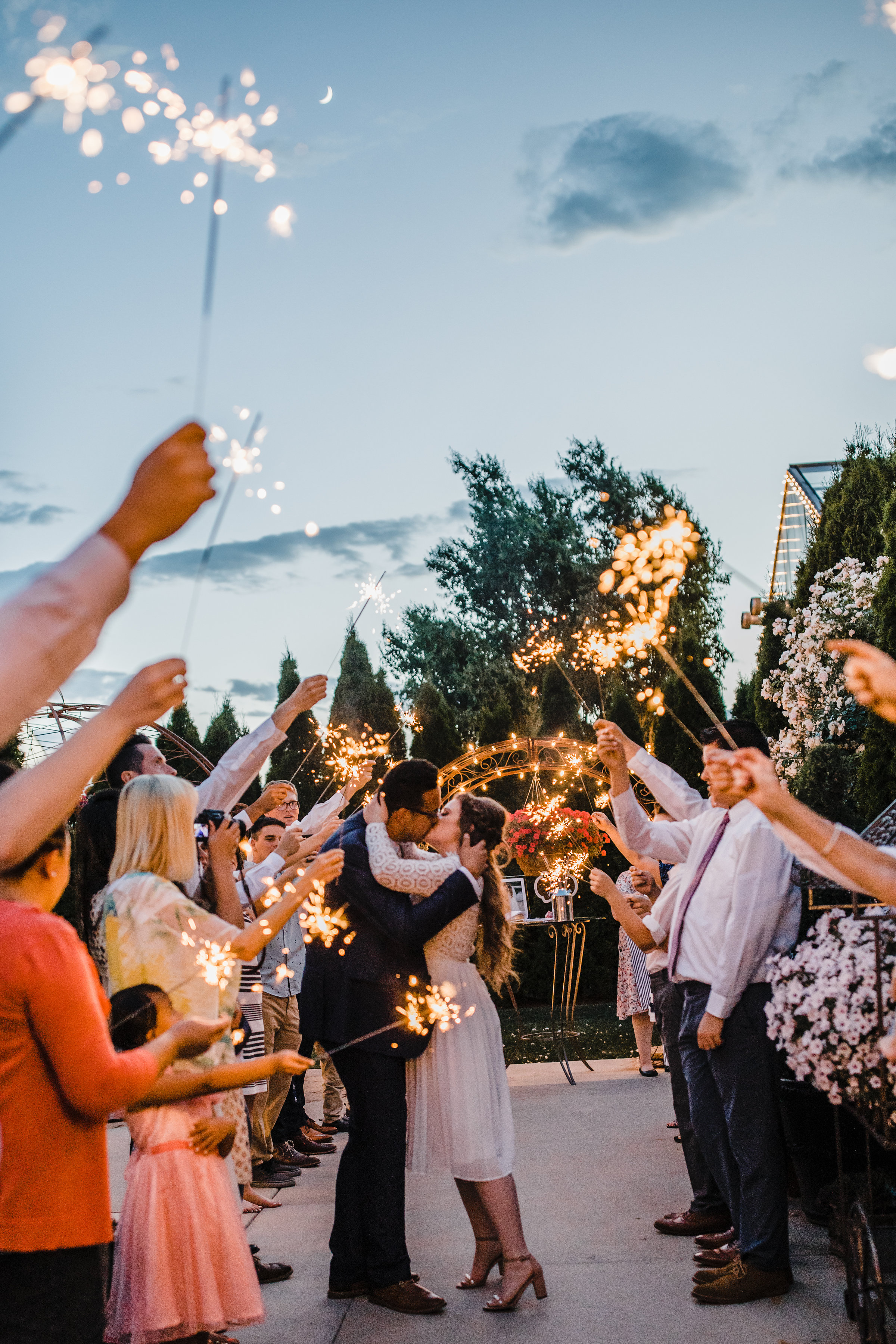 utah valley wedding photographer wedding exit sparklers