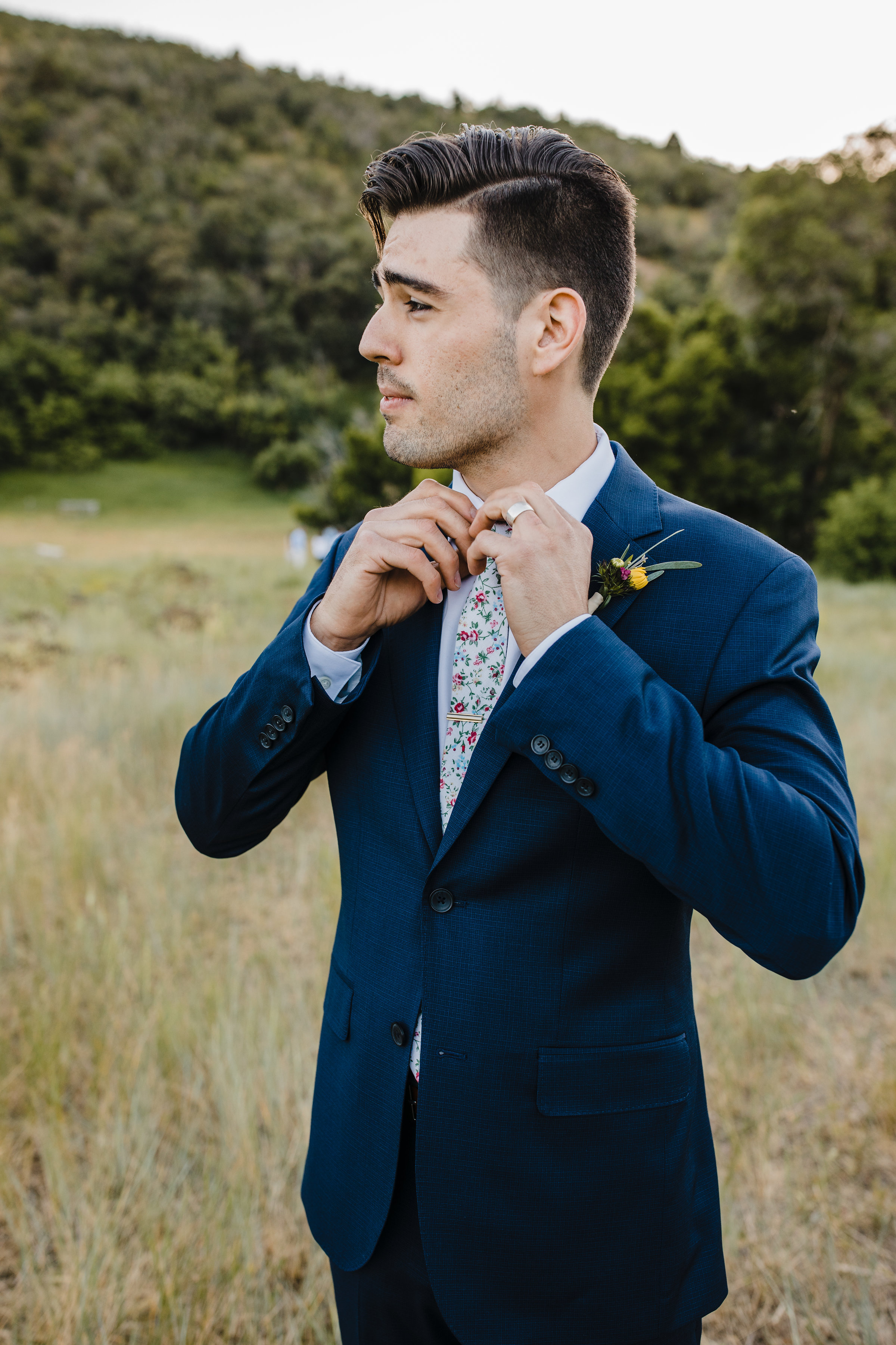 professional wedding photographer in cache valley utah floral tie groom mountain formals