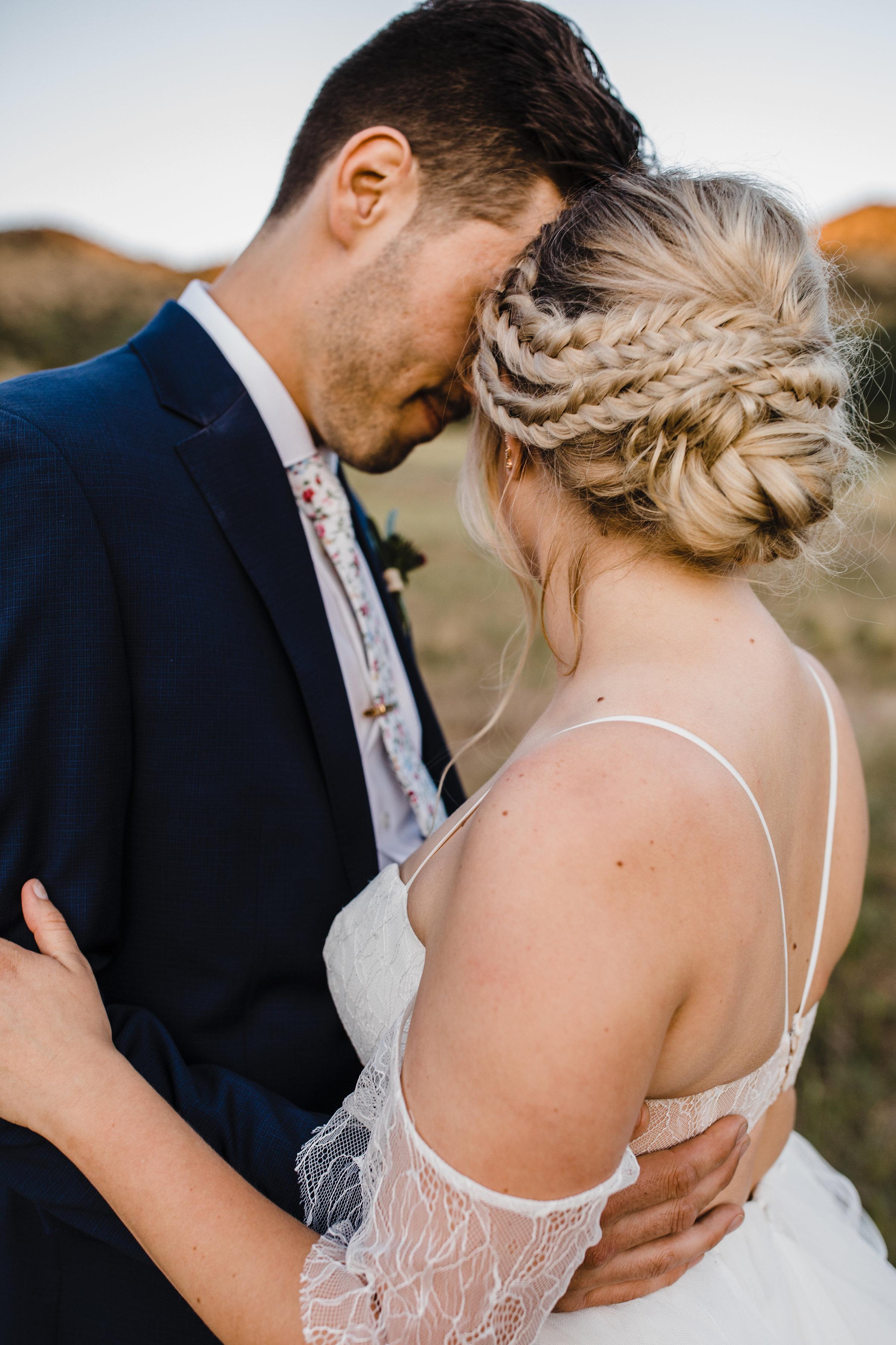 professional wedding photographer logan utah boho wedding braids flutter sleeve wedding dress mountain formals