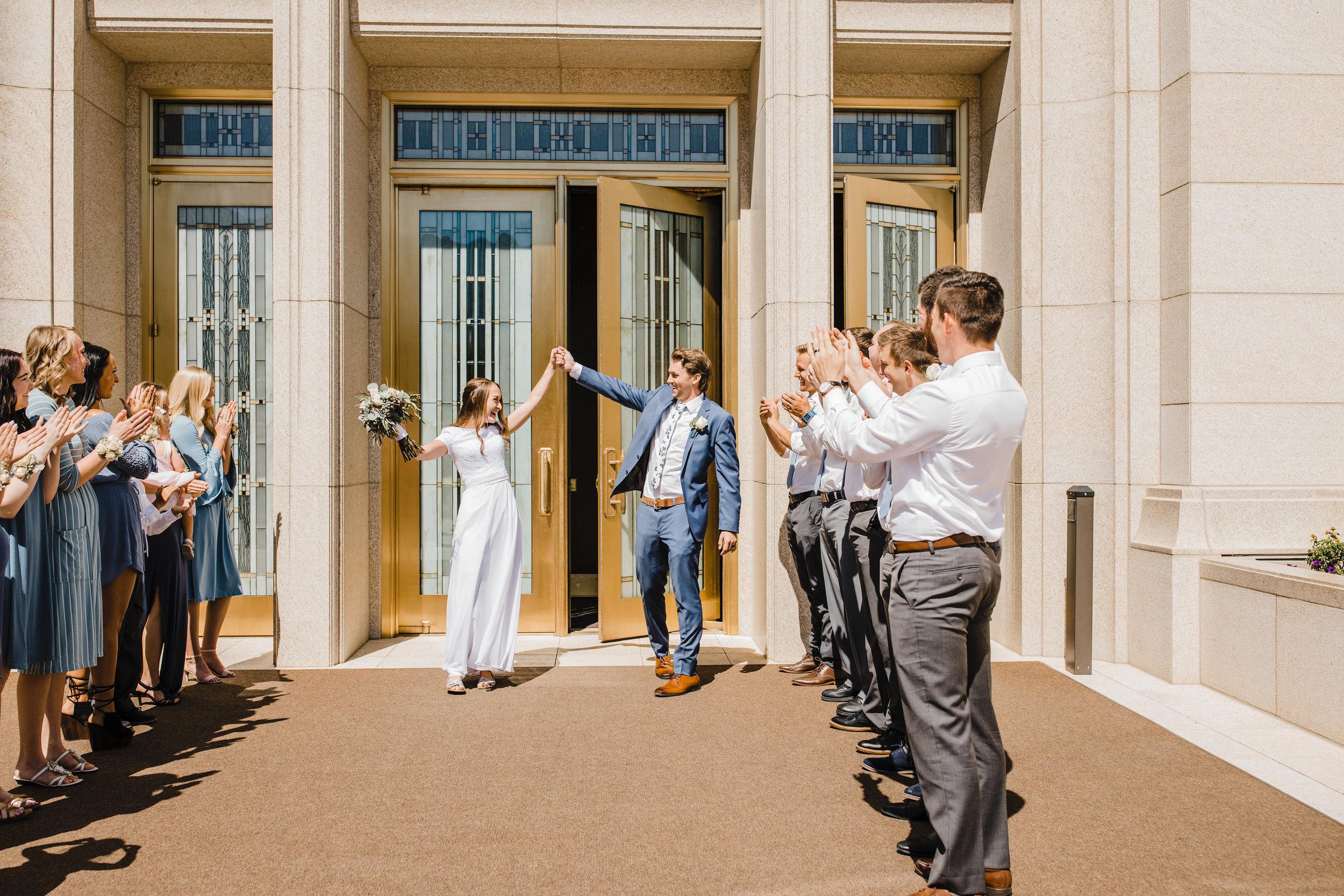 logan utah wedding photographer lds temple exit wedding party lineup