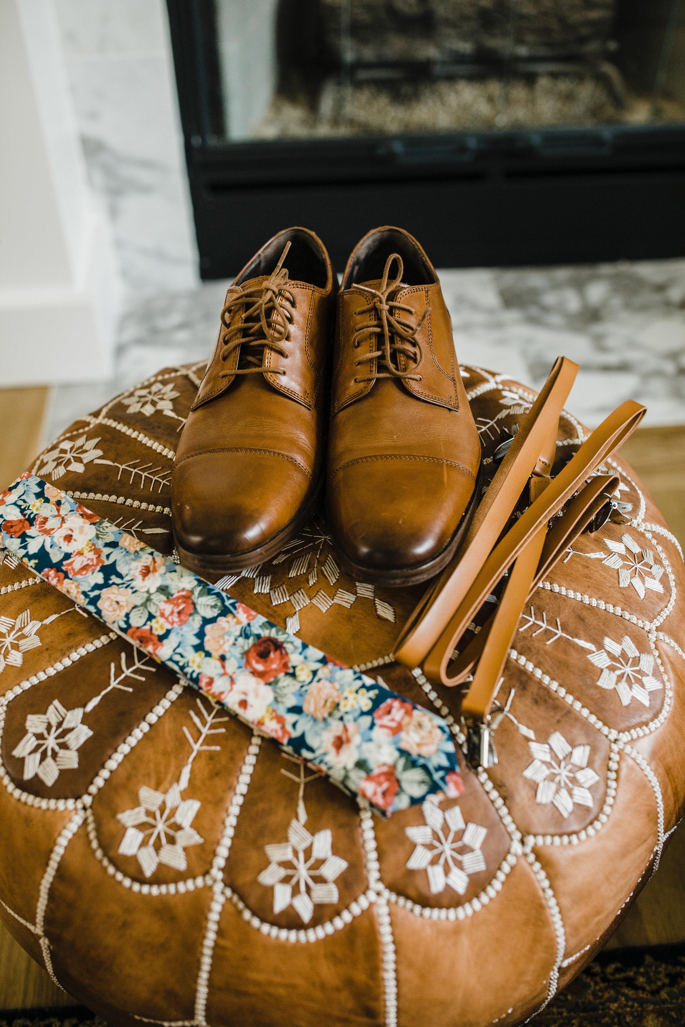 professional wedding photographer in Salt Lake City utah brown shoes floral tie boho