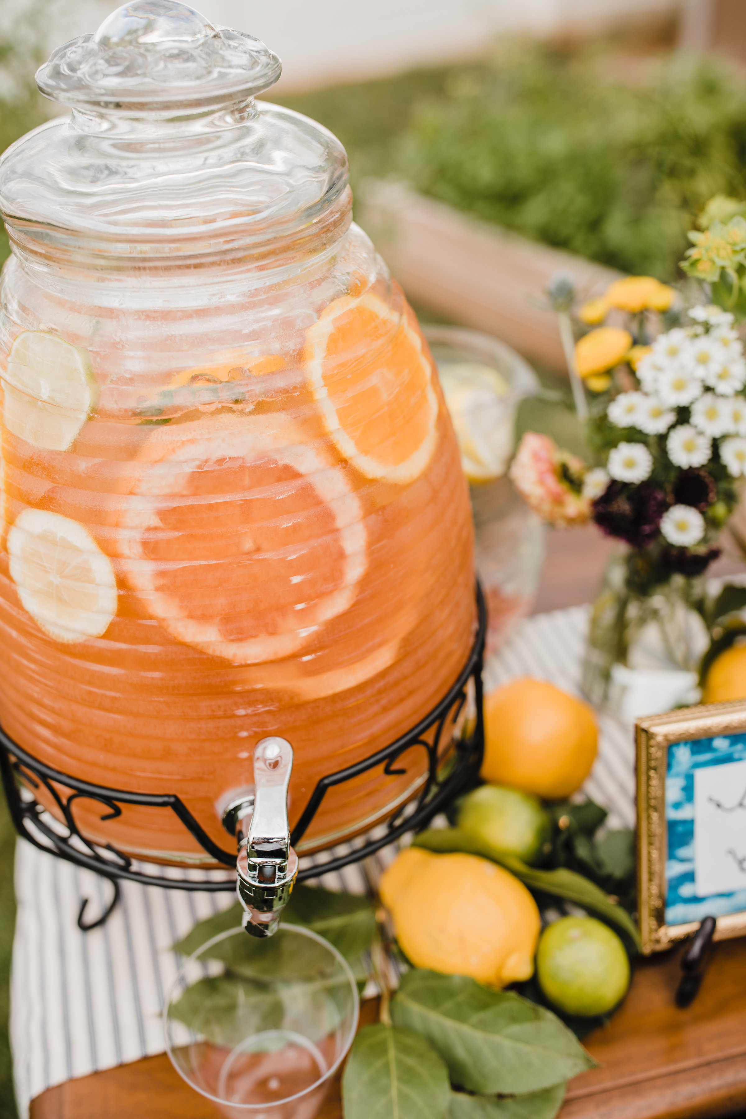 South Jordan wedding photographer orange punch beehive outdoor wedding reception bohemian chic