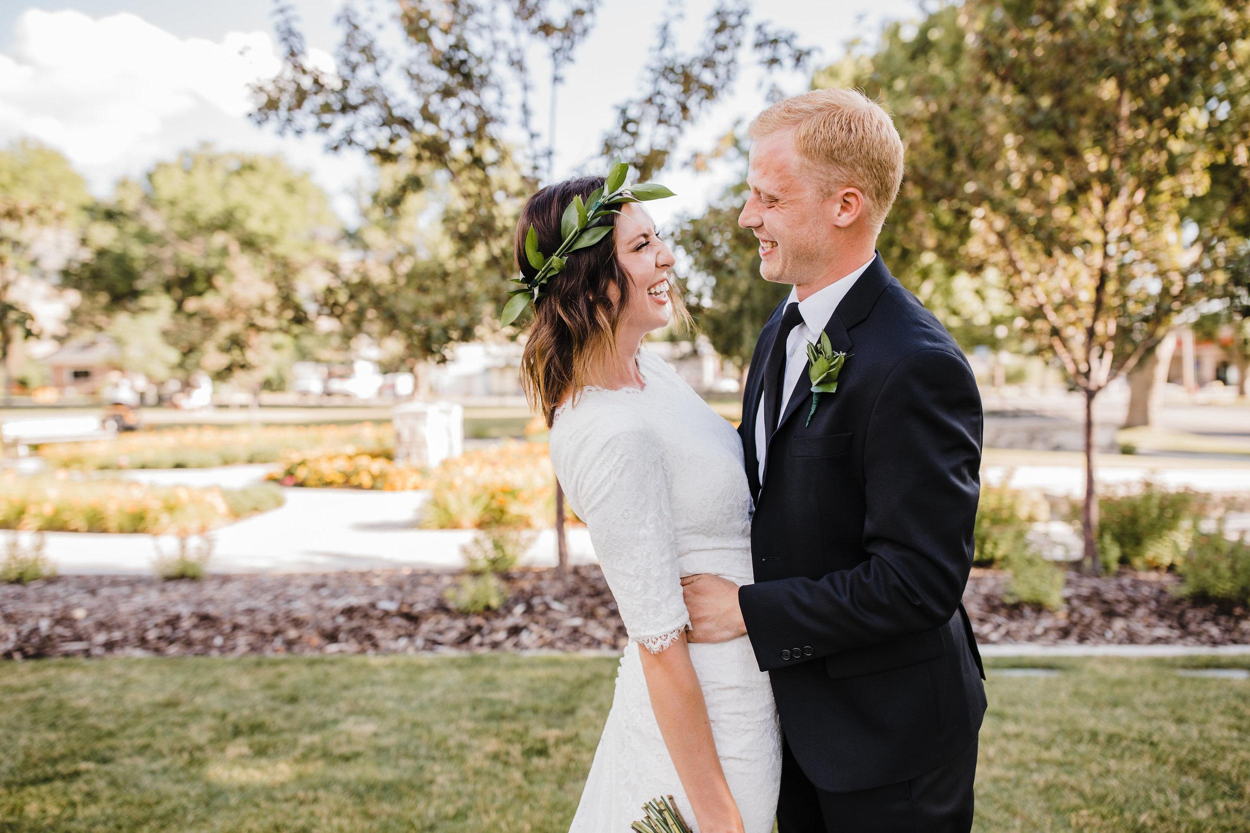 brigham city wedding photographer bridals lds first look modest wedding dress