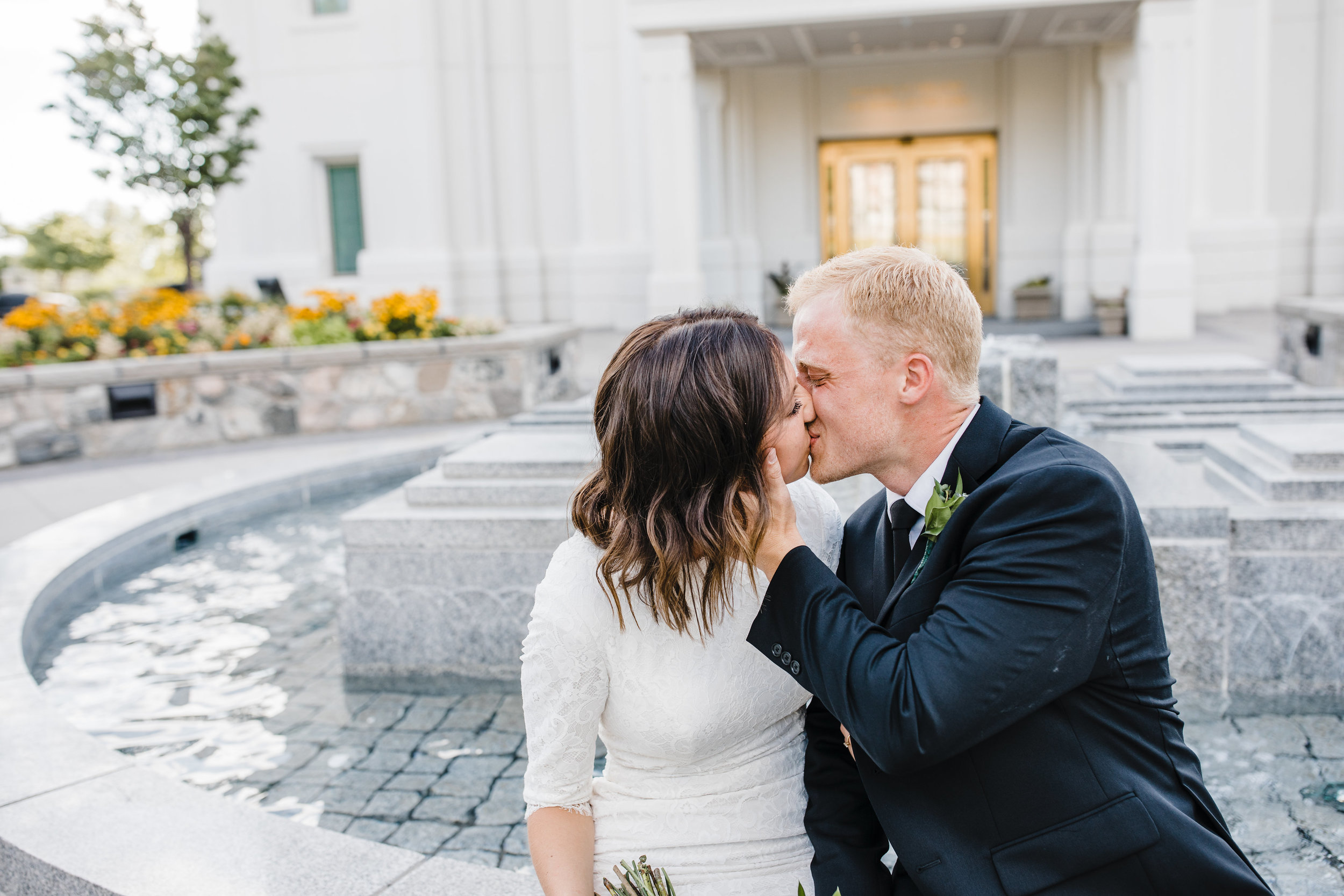 professional wedding photographer in brigham city utah kissing lds happy romantic bridals