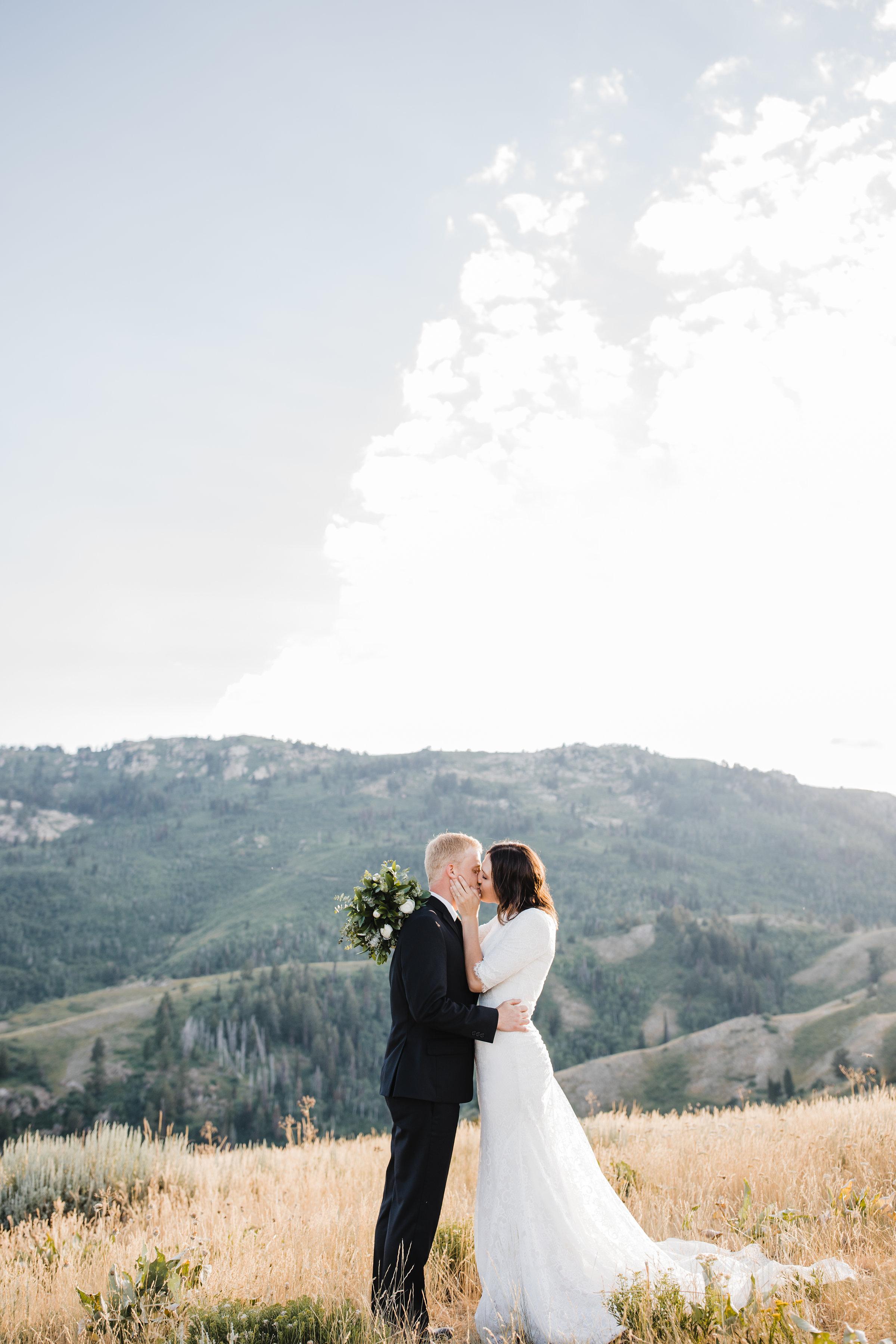 brigham city wedding photographer mountain bridals kissing sunset romantic