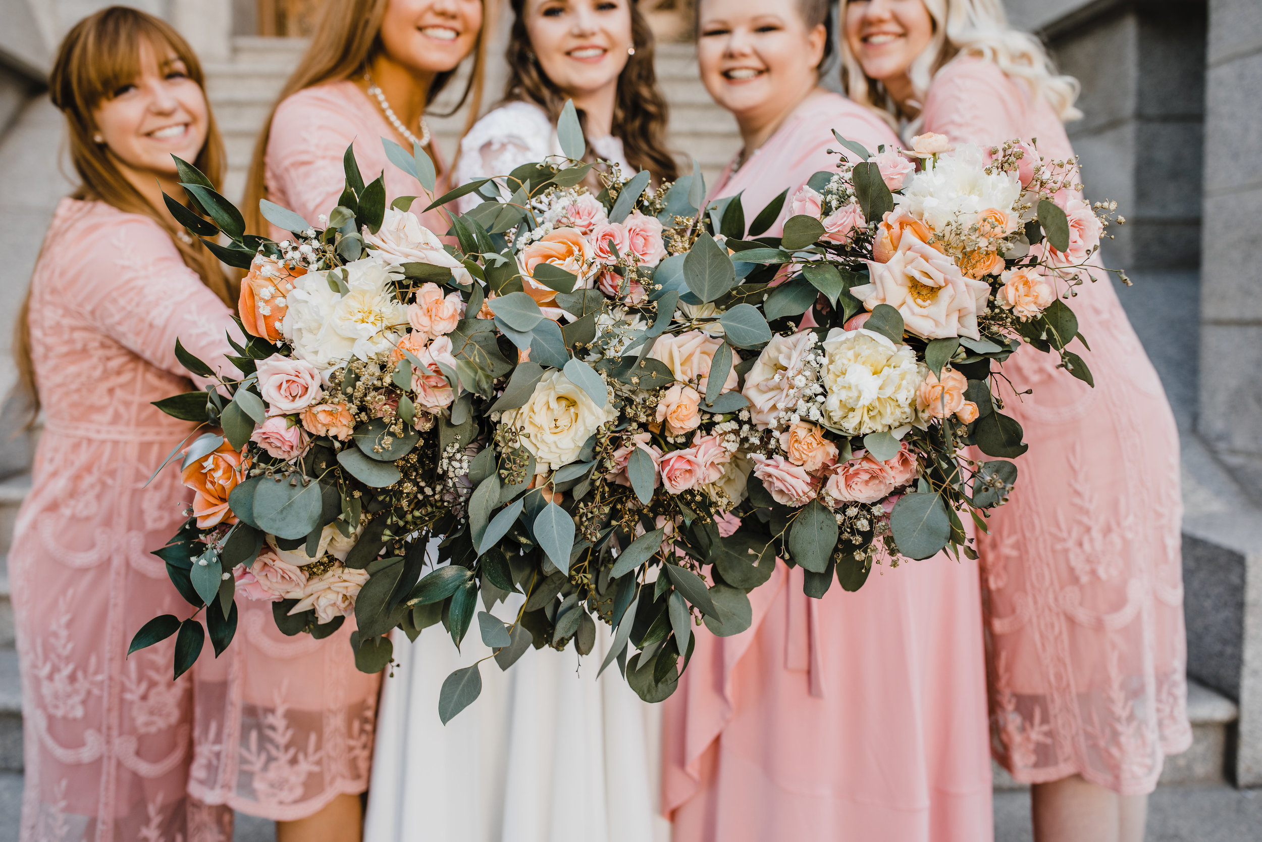 professional wedding photographer salt lake city utah bouquets pink blush