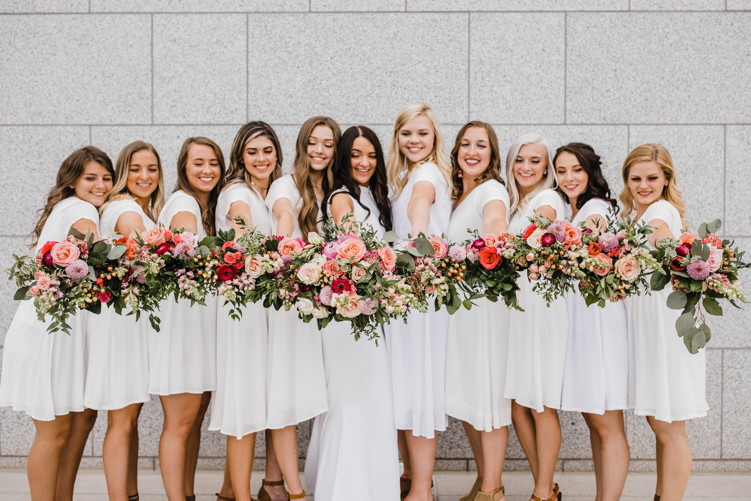 best photographer in utah valley utah white bridesmaids dresses pink botanical bouquets