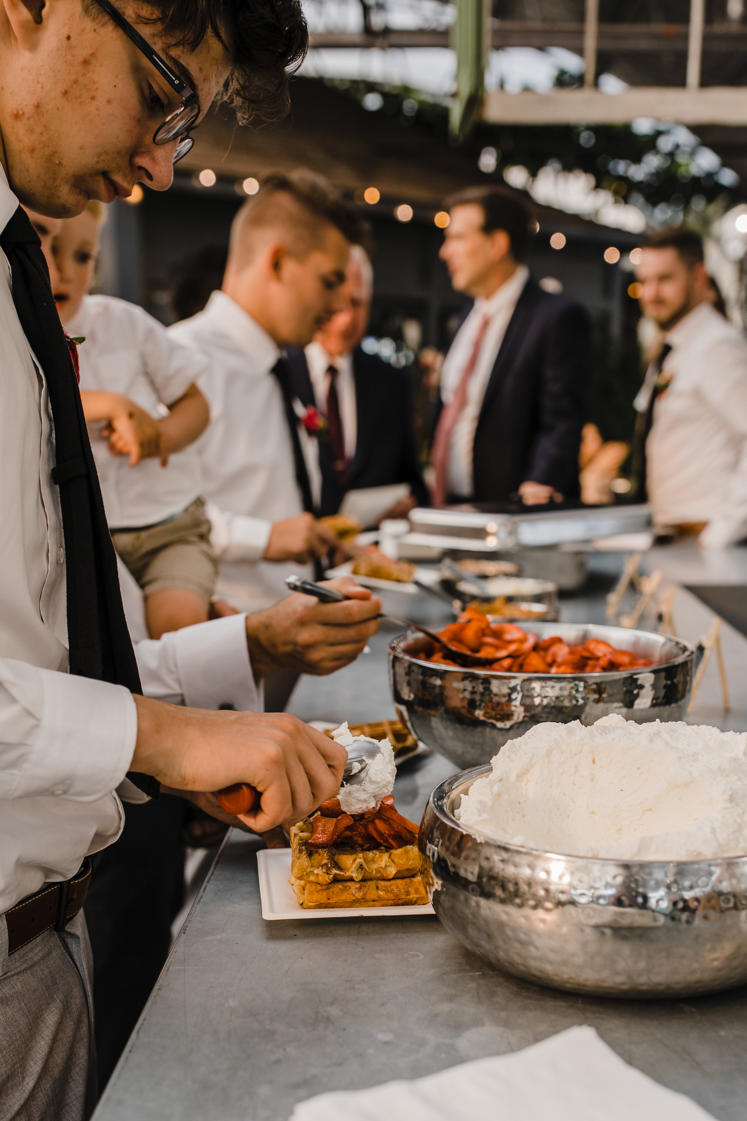 utah valley wedding photographer waffle bar reception
