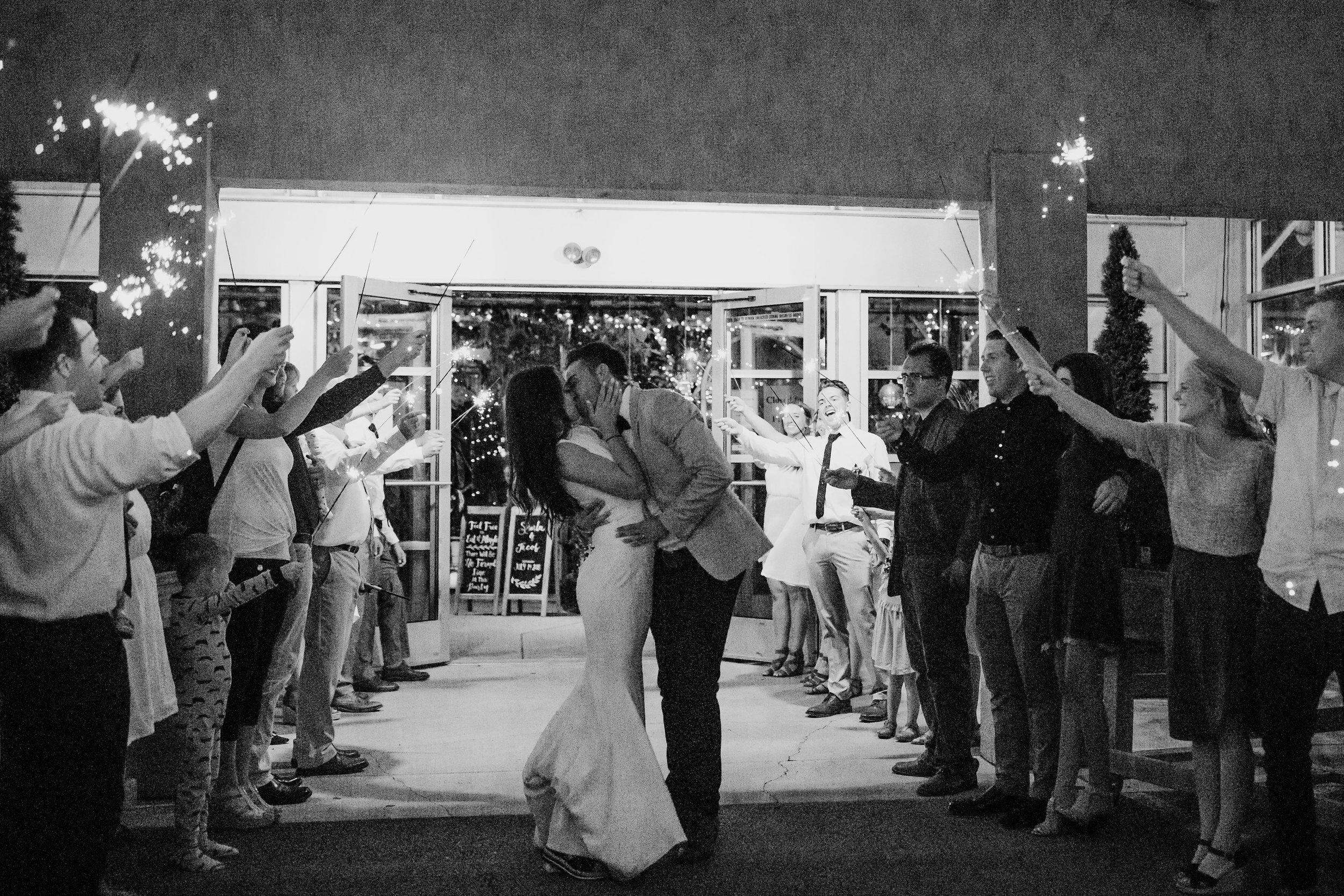 draper utah wedding photographer wedding exit sparklers sunset