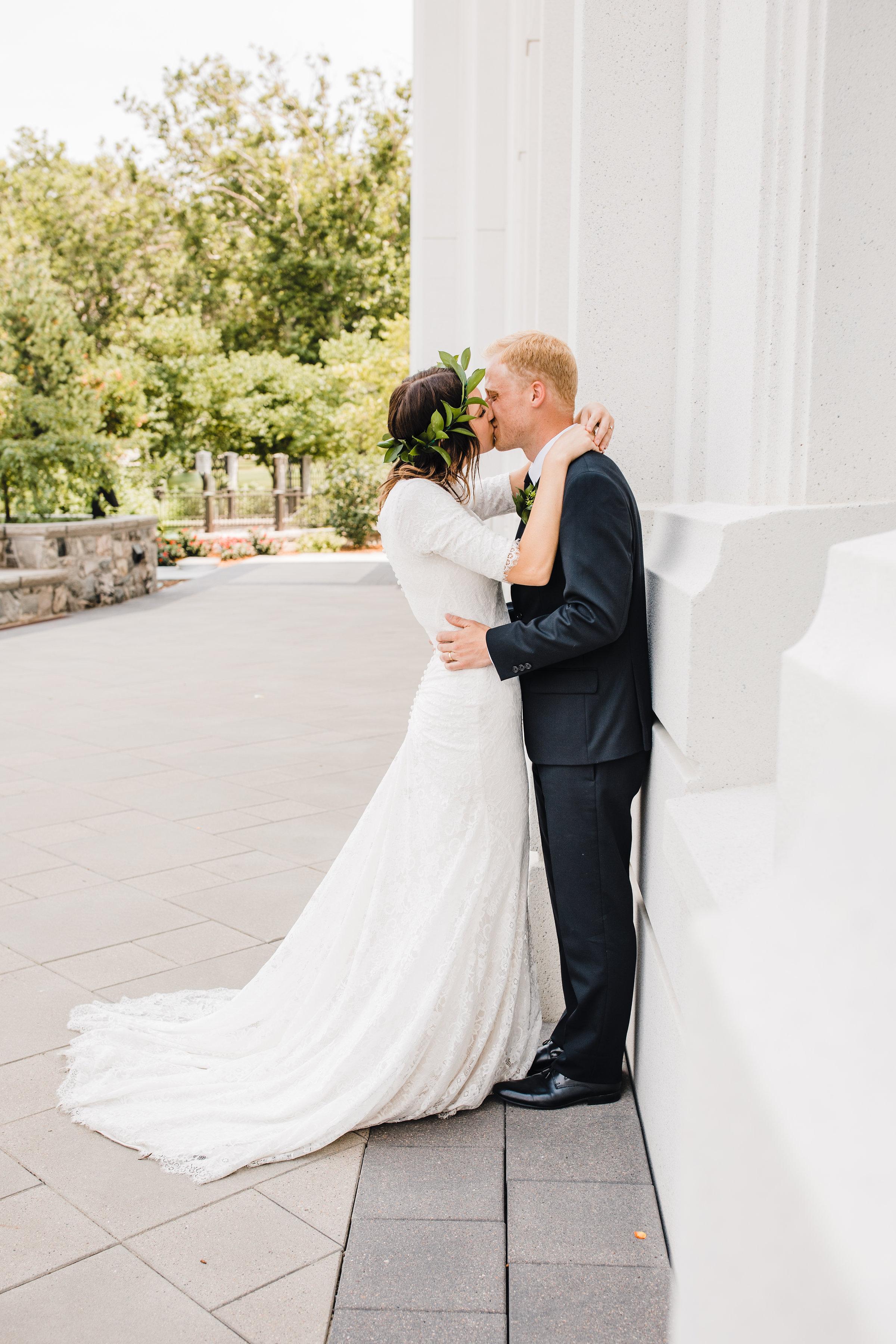 brigham city weddding photographer best kissing romantic lds temple floral crown