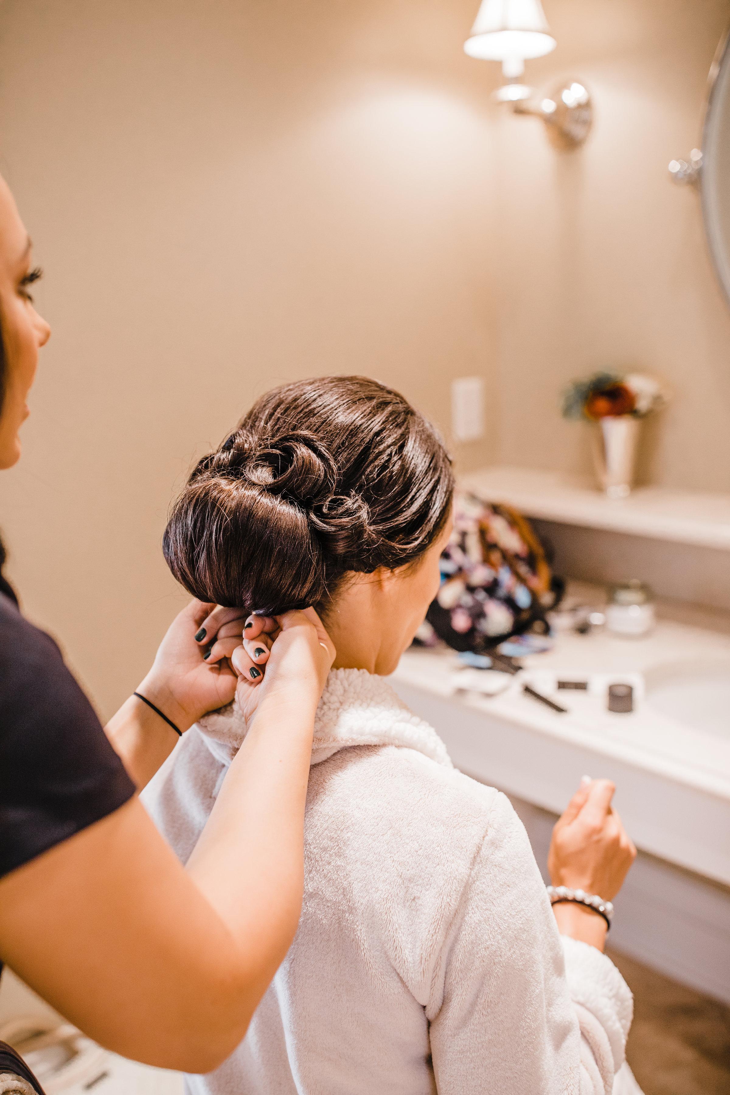 brigham city wedding photographer bridal hair bun wedding morning