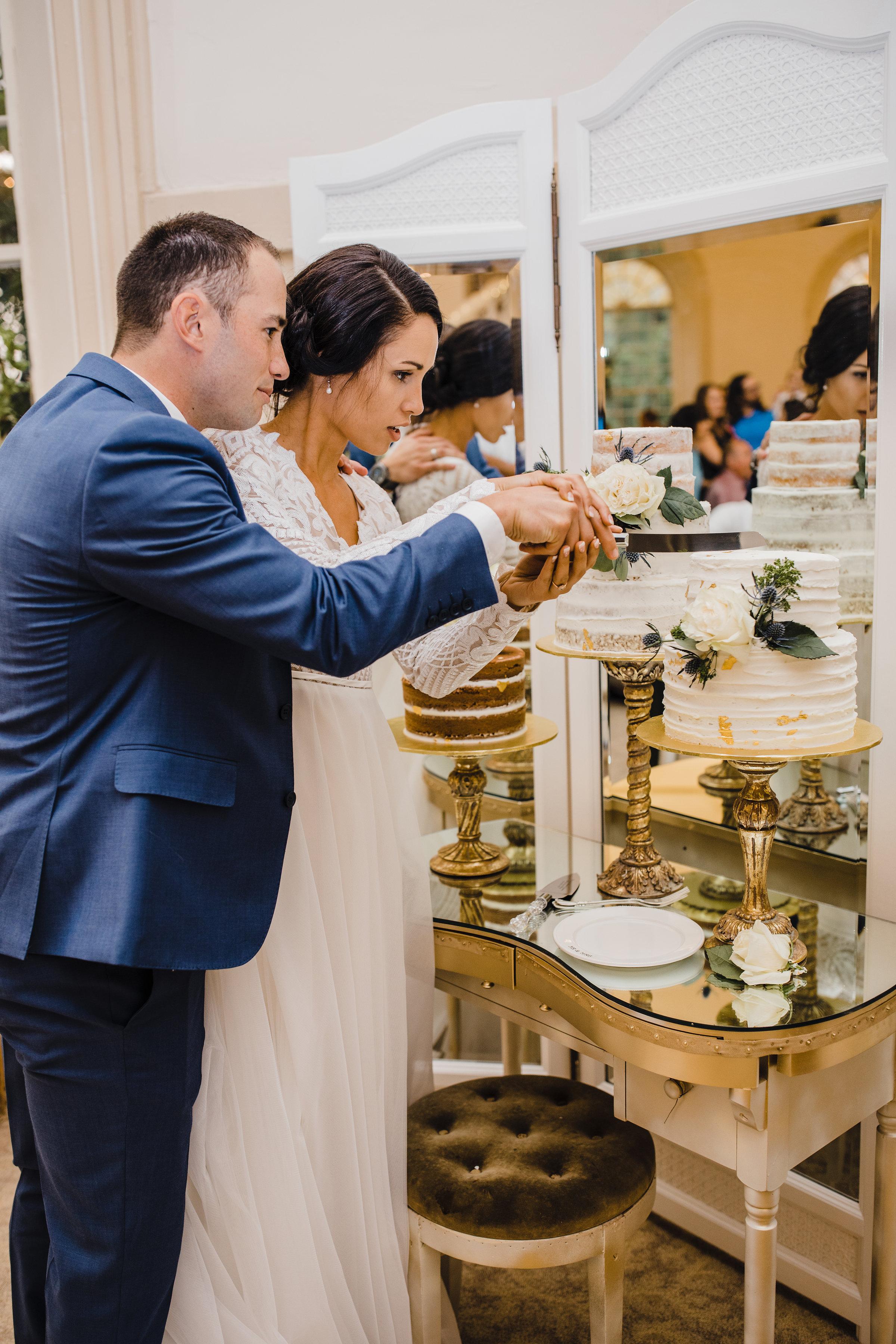 wedding photographer brigham city utah cutting cake holding hands reception