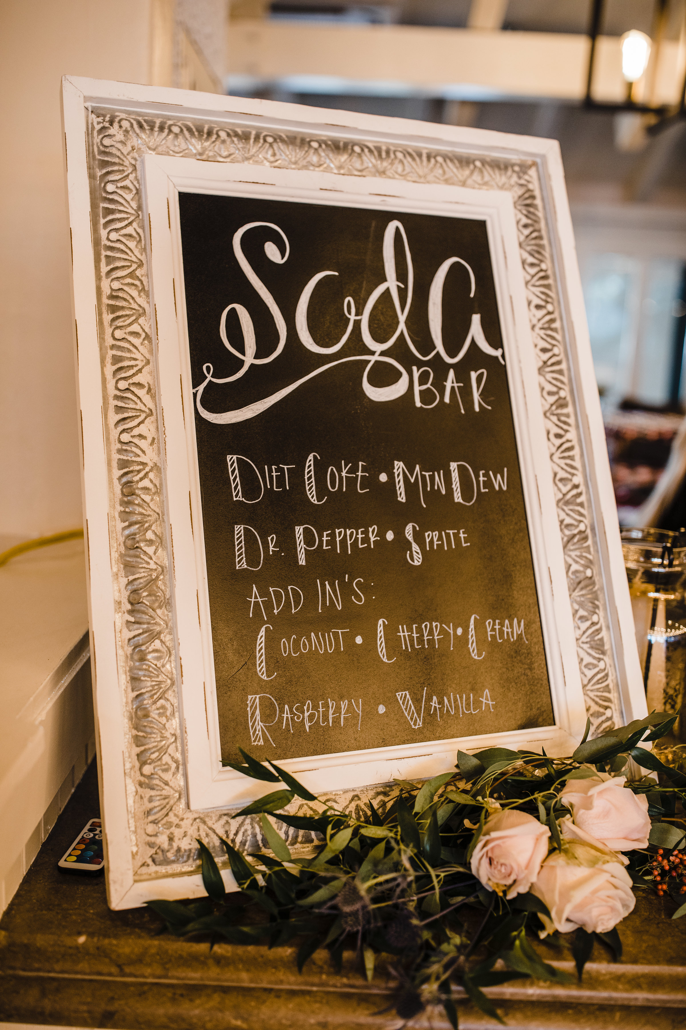 las vegas professional wedding photographer wedding sign reception soda bar