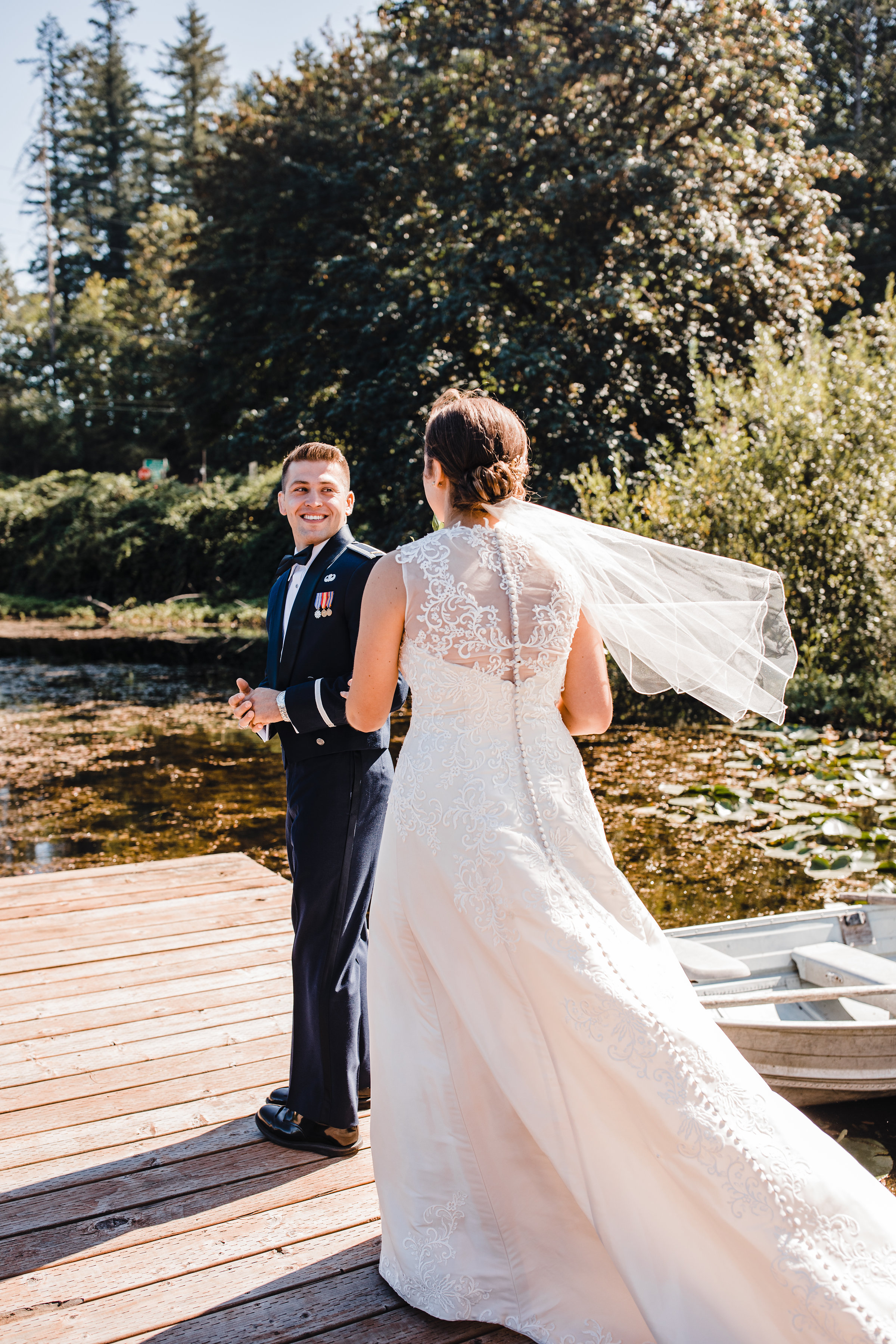 professional photographer in olympia washington first look military wedding