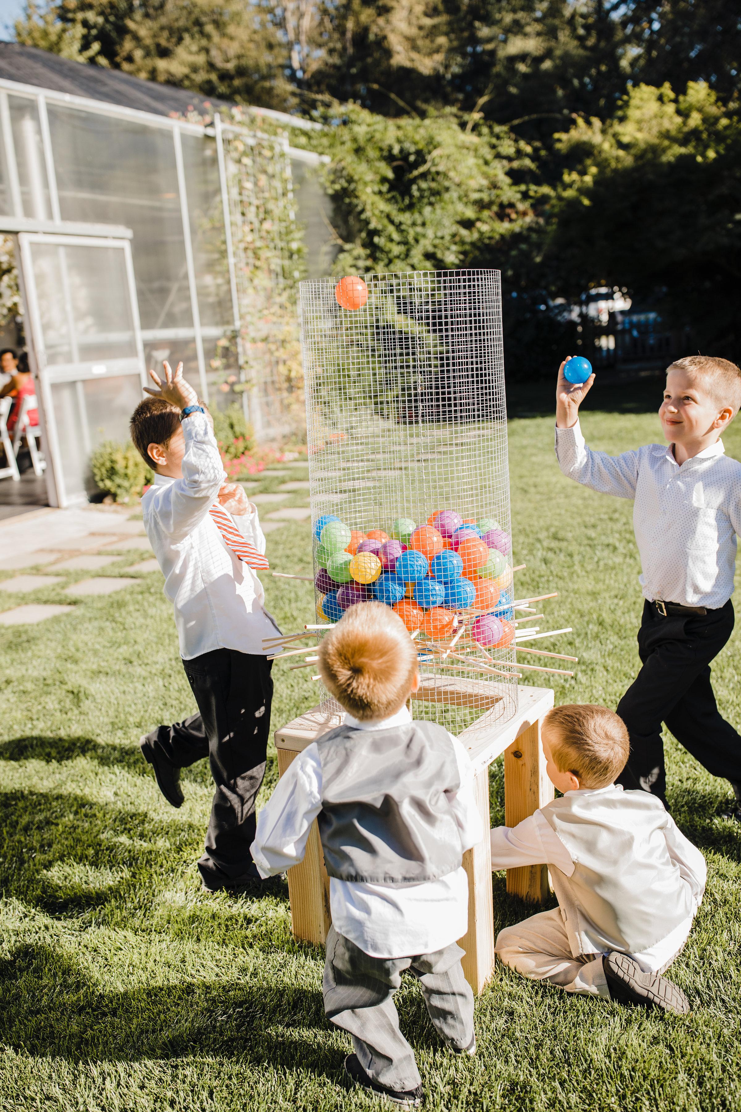 olympia washington wedding photographer outdoor reception lawn games kids