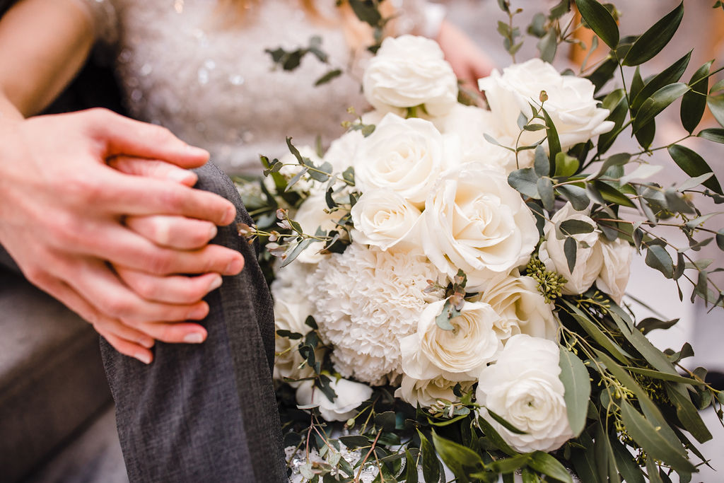 best formal photographer in utah valley white bouquet holding hands utah state capitol