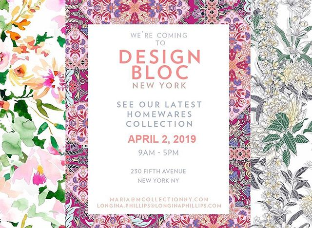 Join us at @designblocshow tomorrow from 9-5 at 230 5th Ave to see the latest home textile designs from @longinaphillipsdesigns  #homedesign #inspiration #textiledesign #longinaphillipsdesigns #printspiration