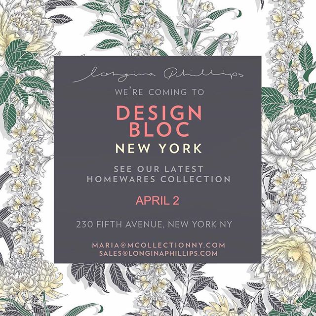We are showing @longinaphillipsdesigns home collection at @designblocshow today! Stop by to browse the collection #homeprints #textiledesign #hometextiles #textileinspo