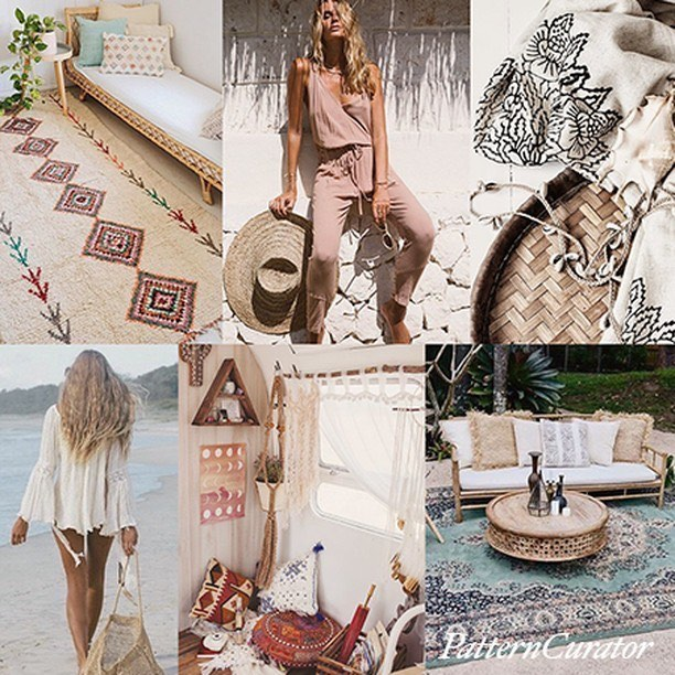 Inspiration from our @patterncurator mood bird Bohemian Beach. DM us to view a curated print collection from @longinaphillipsdesigns  @bloemist_studio @her_studio_london @dinandbloom  #bohostyle #homedecor #textiledesign #homestyle #timelessdesign #beachlife #byronbay #australia #serenespaces
