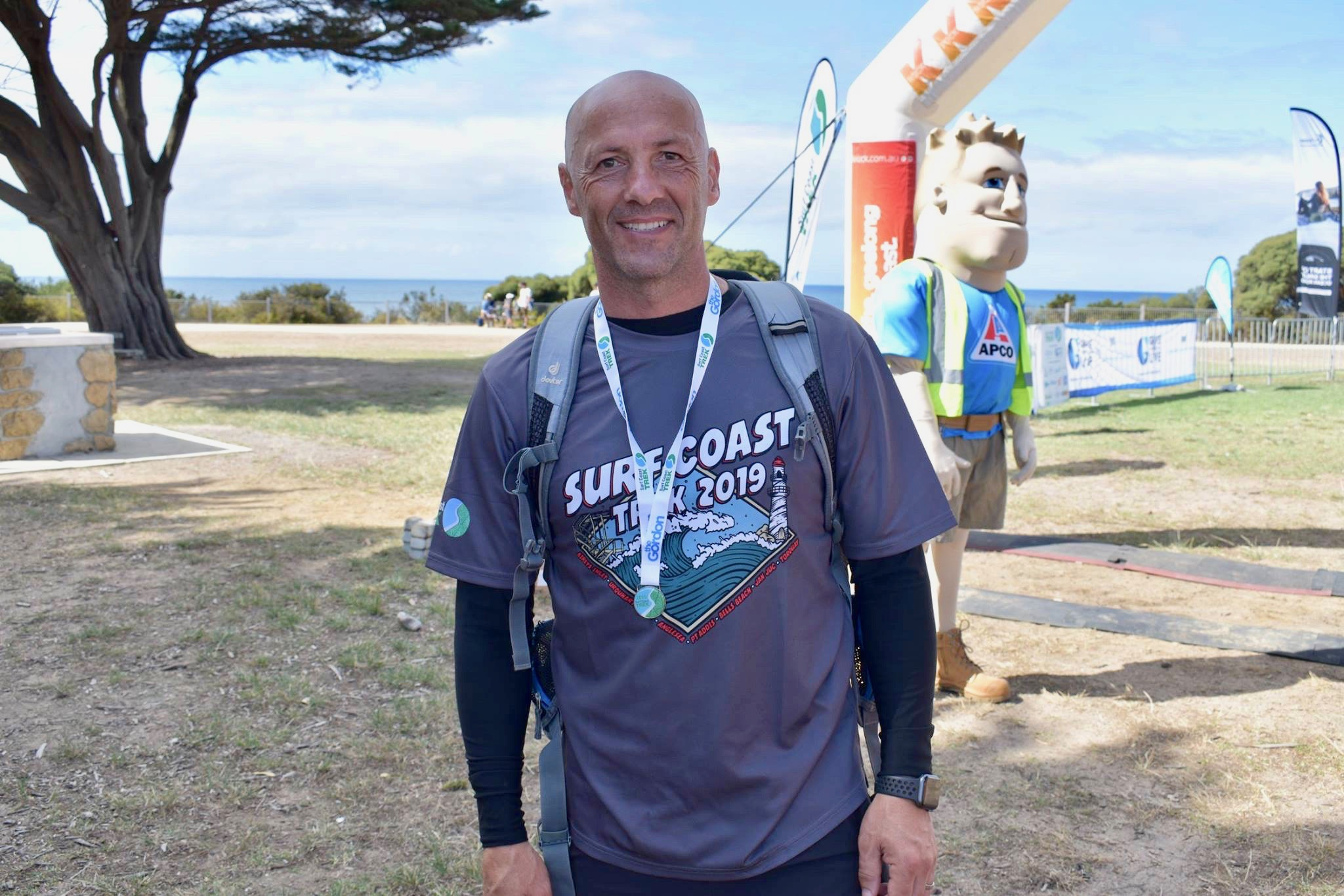 Mick O'Malley at the finish line of the Surf Coast Trek: April 6, 2019.