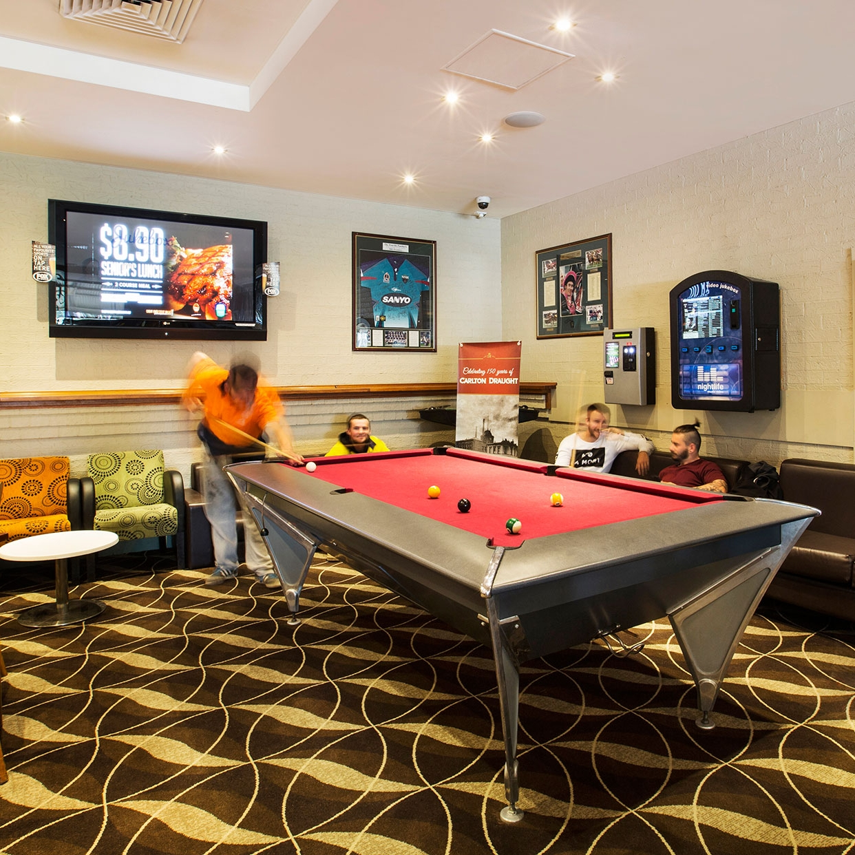 Pool table and weekly entertainment