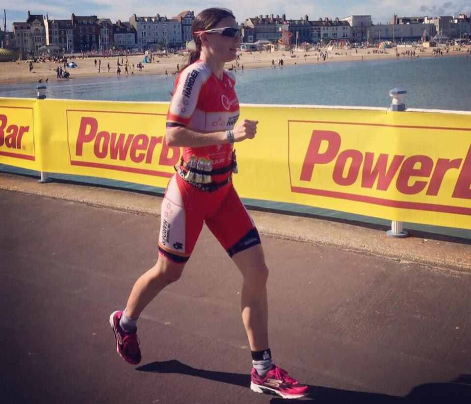 Elaine on her way to winning her age category at Weymouth IRONMAN