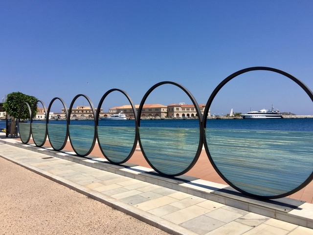 The Rings, which is the cycle and run meeting point at the Syros Port.
